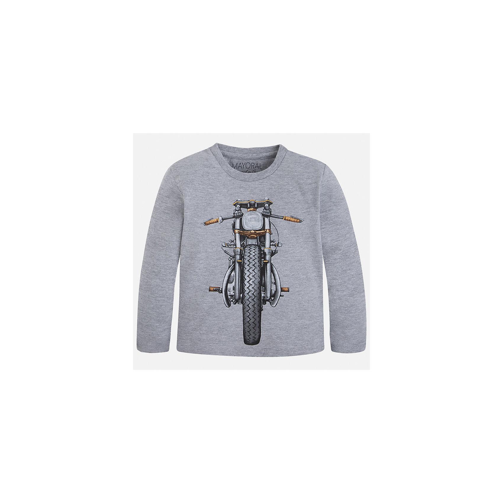 Футболка с длинным рукавом для мальчика MayoralХлопковая футболка с длинными рукавами - это  базовая вещь в любом гардеробе. Благодаря длинным рукавам и легкому составу, ее можно носить в любое время года, а яркий орнамент, подчеркнет индивидуальный стиль Вашего ребенка!<br><br>Дополнительная информация:<br><br>- Крой: прямой крой.<br>- Страна бренда: Испания.<br>- Состав: хлопок 100%.<br>- Цвет: серый.<br>- Уход: бережная стирка при 30 градусах.<br><br>Купить футболку с длинным рукавом для мальчика, от  Mayoral, можно в нашем магазине.<br><br>Ширина мм: 230<br>Глубина мм: 40<br>Высота мм: 220<br>Вес г: 250<br>Цвет: серый<br>Возраст от месяцев: 36<br>Возраст до месяцев: 48<br>Пол: Мужской<br>Возраст: Детский<br>Размер: 104,122,128,134,116,110,98<br>SKU: 4821872
