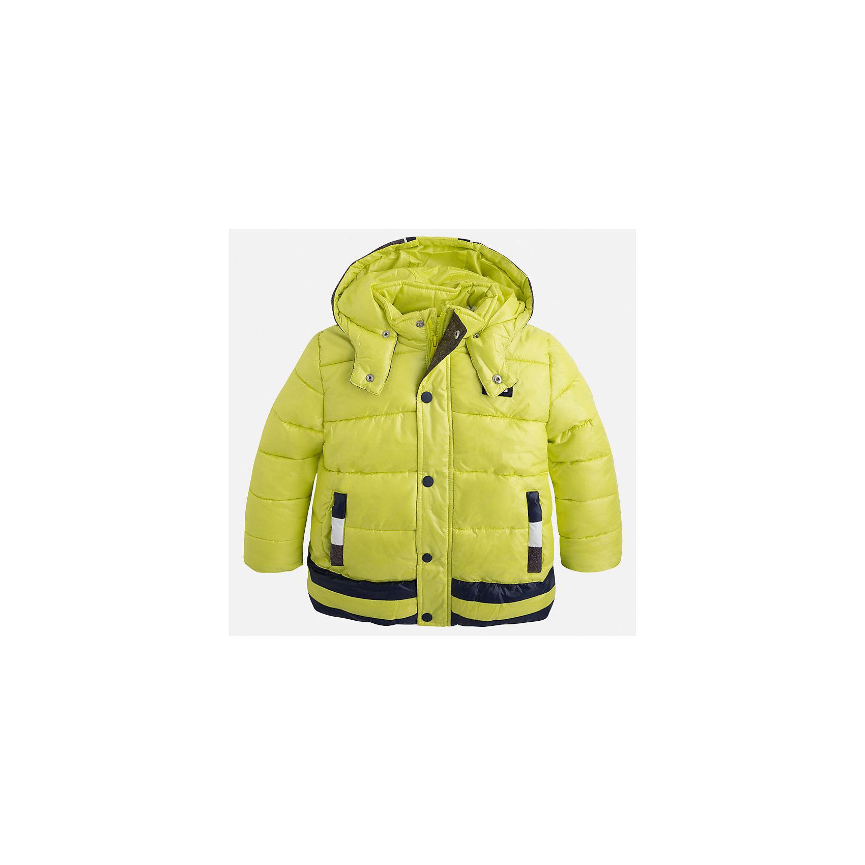 Куртка для мальчика MayoralВерхняя одежда<br>Стильная, теплая осенняя куртка для юного джентльмена!<br>Порадуйте своего ребенка хорошим подарком!<br><br>Дополнительная информация:<br><br>- Крой: прямой крой, удлиненная модель.<br>- Страна бренда: Испания.<br>- Состав: <br>Верхняя ткань: полиэстер 100%.<br>Подкладка: полиэстер 100%.<br>Наполнитель: полиэстер 100%.<br>- Цвет: лимонный.<br>- Уход: бережная стирка при 30 градусах.<br><br>Купить куртку для мальчика Mayoral можно в нашем магазине.<br><br>Ширина мм: 356<br>Глубина мм: 10<br>Высота мм: 245<br>Вес г: 519<br>Цвет: желтый<br>Возраст от месяцев: 24<br>Возраст до месяцев: 36<br>Пол: Мужской<br>Возраст: Детский<br>Размер: 98,134,128,122,116,110,104<br>SKU: 4821961