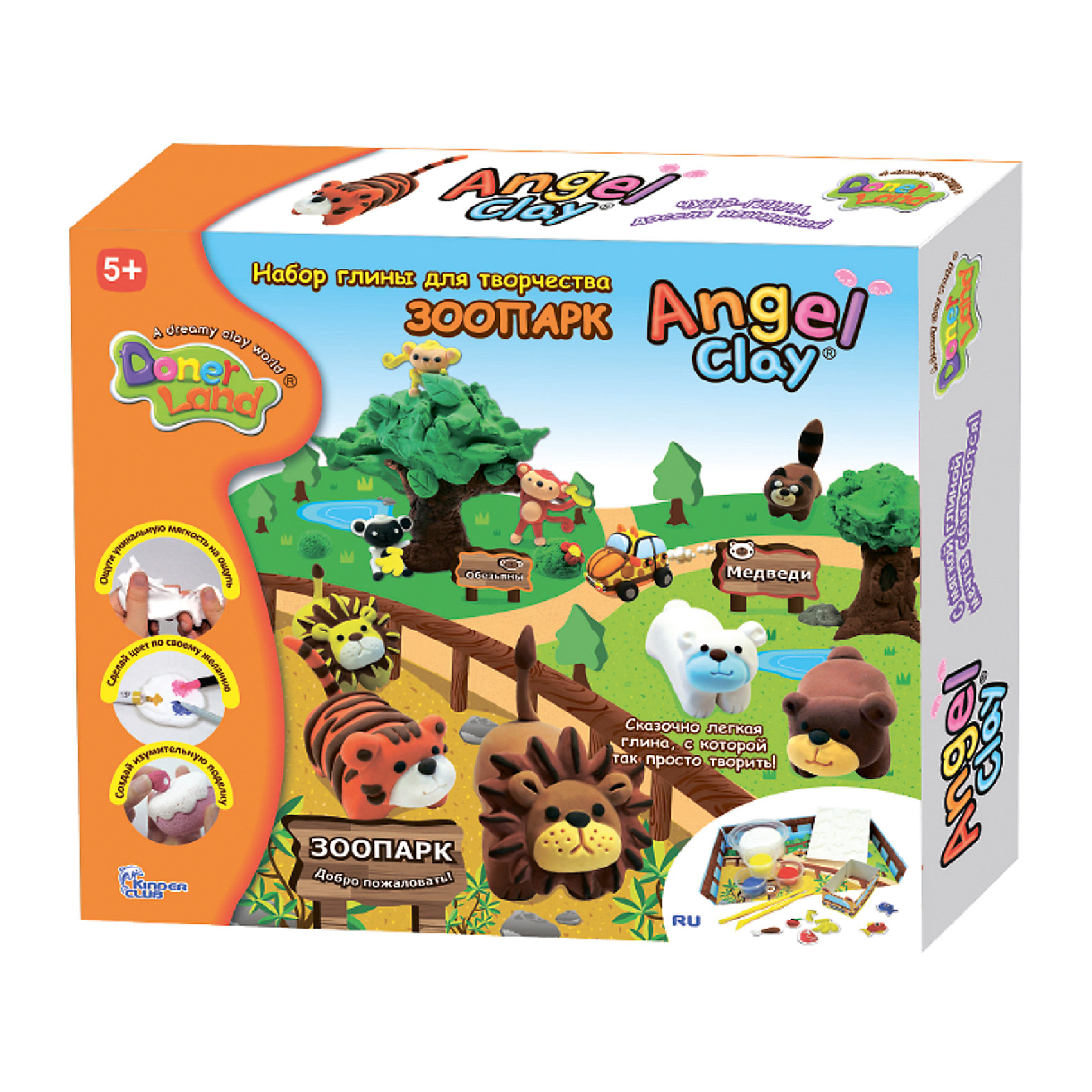 Angel Clay Игровой набор для лепки из глины Animal Park, Angel Clay набор для лепки donerland angel clay funny safari aa14021