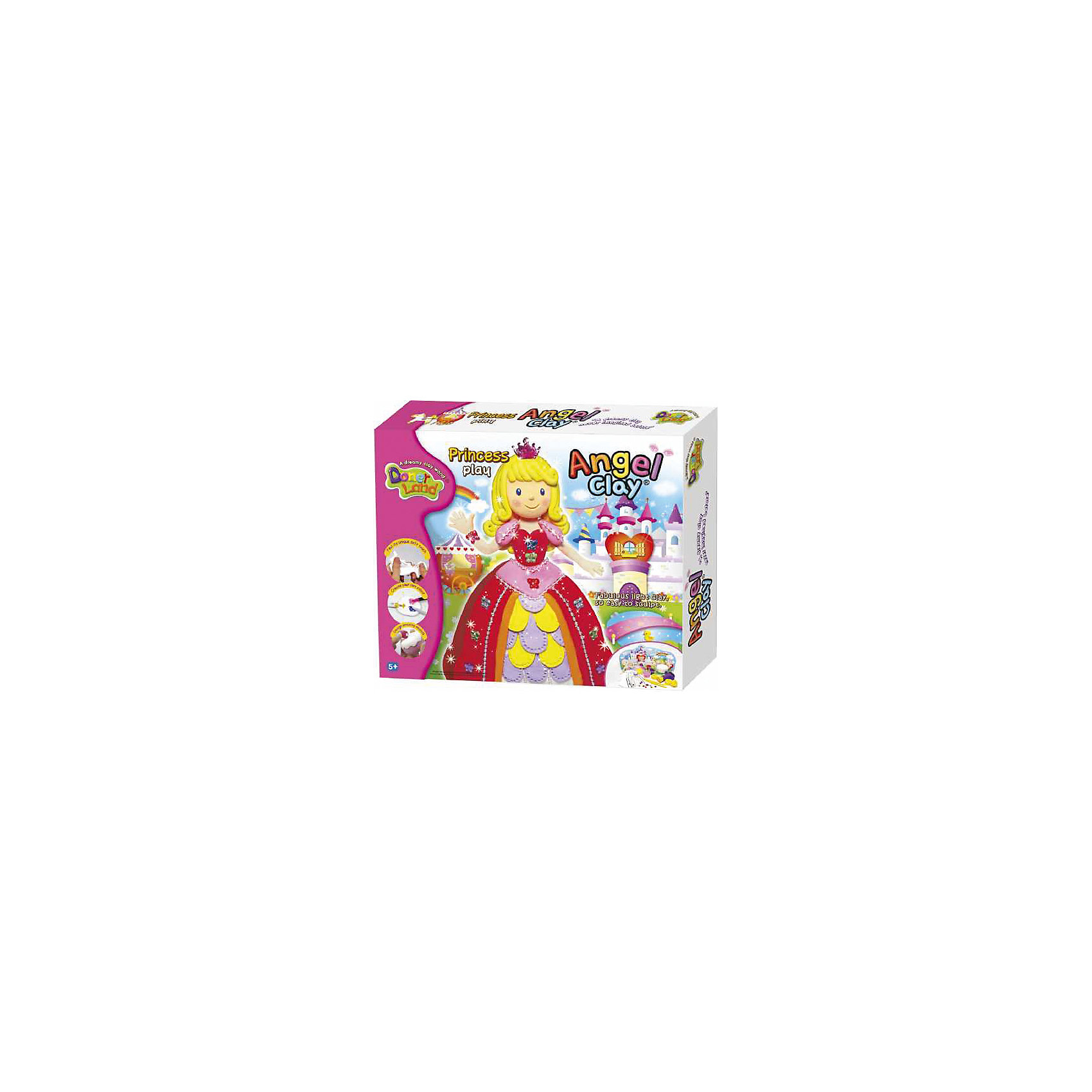 Игровой набор для лепки из глины  Princess Play, Angel ClayЛепка<br>Очень мягкая и легкая глина для лепки. Она прекрасно лепится, быстро принимает любую текстуру и хорошо окрашивается в любой цвет.<br>А если смочить глину водой и подождать пару часов, она снова будет готова к использованию!<br>С таким набор Ваш ребенок сможет лепить и придумывать разных зверюшек сколько ему захочется!<br><br>В наборе:<br>- Легкая глина: белая 40 гр., фиолетовая 4 гр., красная 4гр., желтая 4гр., розовая 4гр.<br>- Декорации.<br>- Пресс кондитерский.<br>- Шнур.<br>- Бисер.<br>- Корона.<br>- Бабочка.<br>- Шар бумажный.<br>- Клей.<br>- Инструменты.<br>- Инструкция.<br><br>Дополнительная информация:<br><br>- Возраст: от 5 лет.<br>- Размер упаковки: 30х26,5х6 см.<br>- Вес в упаковке: 400 г.<br><br>Купить игровой набор для лепки из глины Princess Play от Angel Clay, можно в нашем магазине.<br><br>Ширина мм: 300<br>Глубина мм: 265<br>Высота мм: 60<br>Вес г: 400<br>Возраст от месяцев: 60<br>Возраст до месяцев: 96<br>Пол: Женский<br>Возраст: Детский<br>SKU: 4823372