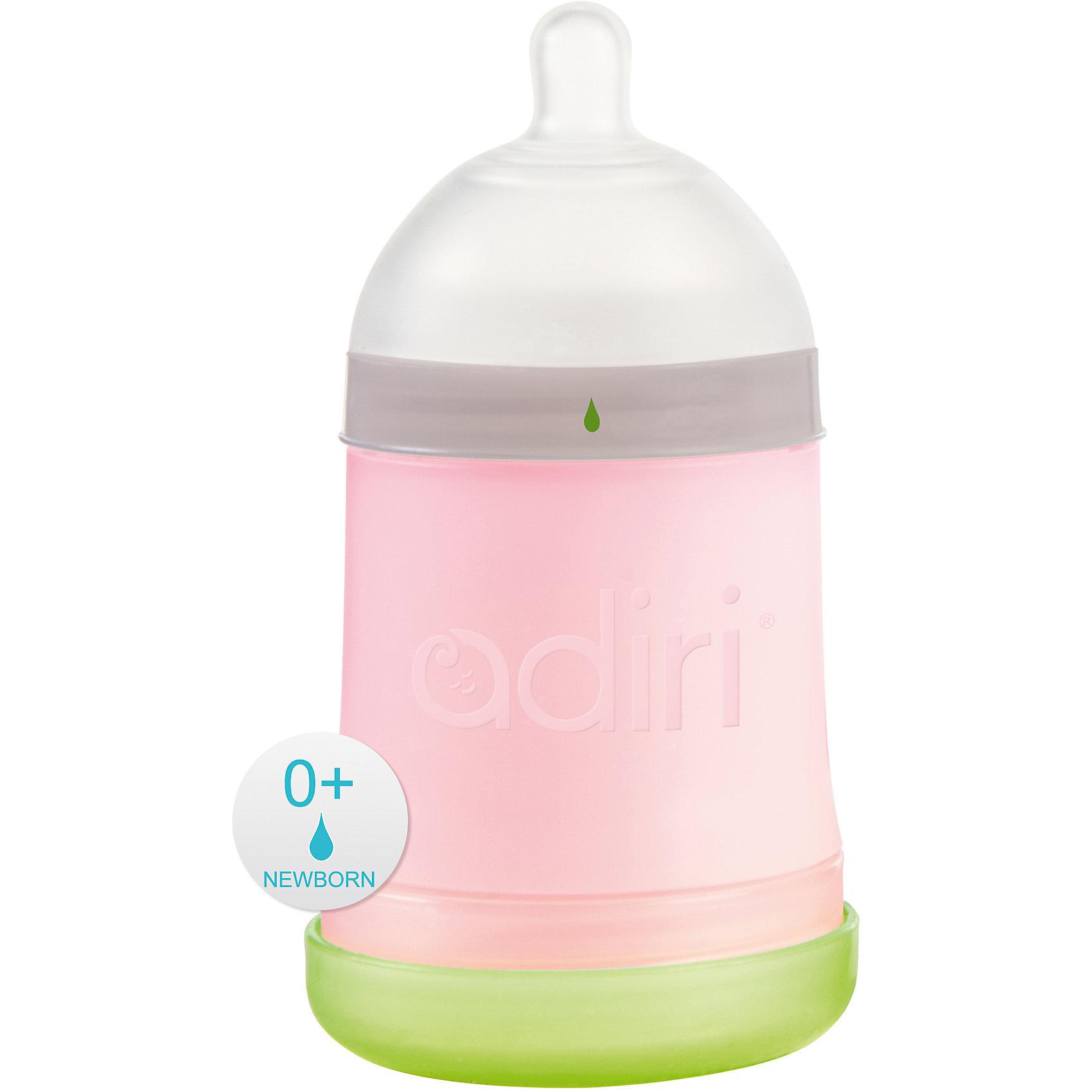 Бутылочка NxGen, Newborn Nurser, 0-3 мес., 163 мл., Adiri, pinkБутылочки и аксессуары<br>Бутылочка NxGen, Newborn Nurser, 0-3 мес., 163 мл., Adiri, pink.<br><br>Характеристики:<br><br>- Возраст: с рождения до 3 месяцев<br>- В комплекте: бутылочка, соска<br>- Объем: 163 мл.<br>- Соска: слабый поток<br>- Цвет: розовый<br>- Материал: бутылочка – пластик, соска - силикон<br>- Не содержит бисфенол А<br><br>Уникальная бутылочка от канадского производителя Adiri NxGen разработана с учетом рекомендаций специалистов-практиков, ученых, специалистов по грудному вскармливанию и, самое главное, мам. Эргономичная форма и тактильные свойства бутылочки повторяют материнскую грудь, благодаря чему практически сводится к нулю вероятность отказа малыша от груди. Уникальная форма позволяет комбинировать вскармливание грудью и кормление из бутылочки на протяжении всего периода грудного вскармливания. Даже в том случае, если мама решит перейти к кормлению только из бутылочки, то с бутылочкой Adiri для малыша переход станет почти незаметен. Специально сконструированная мягкая соска со слабым потоком, изготовленная из медицинского силикона, идеально подходит по форме и размеру, и обеспечивает ощущение сосания материнской груди. Вентиляционная система внизу бутылочки напоминает по форме лепесток (Petal®) и обеспечивает одностороннюю последовательную подачу воздуха внутрь бутылочки, предотвращая возникновение колик. Бутылочка разделяется на три части, каждую из которых очень удобно мыть. Современные технологии, использованные при производстве бутылочек Adiri, запатентованы и применяются только в продукции Adiri. Неоспоримым преимуществом Adiri является превосходная эргономика, форма и тактильные свойства продукции. Бутылочки Adiri получили международное признание родителей!<br><br>Бутылочку NxGen, Newborn Nurser, 0-3 мес., 163 мл., Adiri, pink можно купить в нашем интернет-магазине.<br><br>Ширина мм: 70<br>Глубина мм: 70<br>Высота мм: 140<br>Вес г: 125<br>Возраст от месяцев: 0<br>Возраст до м