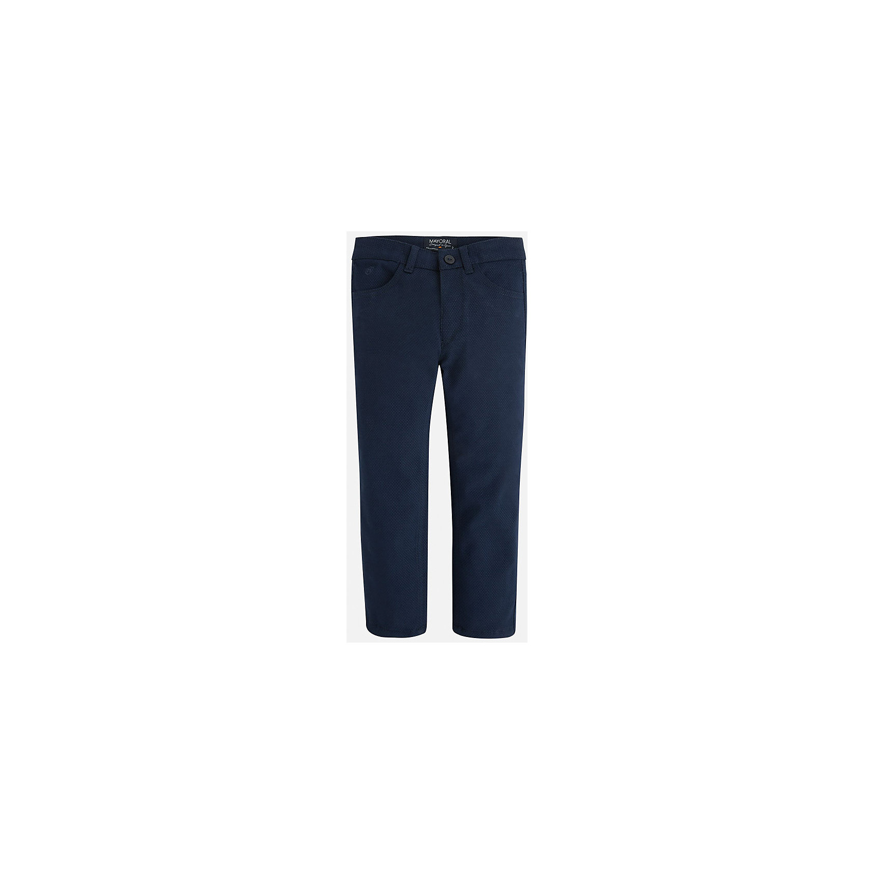 Брюки для мальчика MayoralБрюки<br>Универсальные брюки темно-синего цвета всегда должны быть в гардеробе юного мужчины!<br>У брюк классическая посадка и прямой крой, так же они долговечны и очень удобны в носке.<br><br>Дополнительная информация:<br><br>- Крой: прямой крой.<br>- Страна бренда: Испания.<br>- Состав: хлопок 97%, эластан 3%.<br>- Цвет: темно-синий.<br>- Уход: бережная стирка при 30 градусах.<br><br>Купить брюки для мальчика Mayoral можно в нашем магазине.<br><br>Ширина мм: 215<br>Глубина мм: 88<br>Высота мм: 191<br>Вес г: 336<br>Цвет: разноцветный<br>Возраст от месяцев: 48<br>Возраст до месяцев: 60<br>Пол: Мужской<br>Возраст: Детский<br>Размер: 110,104,116,134,128,122,98<br>SKU: 4826381
