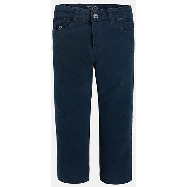 Брюки для мальчика MayoralОдежда<br>Универсальные брюки темно-синего цвета всегда должны быть в гардеробе юного мужчины!<br>У брюк классическая посадка и прямой крой, так же они долговечны и очень удобны в носке.<br><br>Дополнительная информация:<br><br>- Крой: прямой крой.<br>- Страна бренда: Испания.<br>- Состав: хлопок 97%, эластан 3%.<br>- Подкладка: хлопок 100%.<br>- Цвет: синий.<br>- Уход: бережная стирка при 30 градусах.<br><br>Купить брюки для мальчика Mayoral можно в нашем магазине.<br><br>Ширина мм: 215<br>Глубина мм: 88<br>Высота мм: 191<br>Вес г: 336<br>Цвет: синий<br>Возраст от месяцев: 48<br>Возраст до месяцев: 60<br>Пол: Мужской<br>Возраст: Детский<br>Размер: 110,122,104,128,134,116,98<br>SKU: 4826405