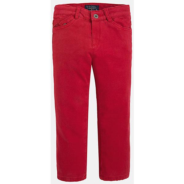 Брюки для мальчика MayoralБрюки<br>Универсальные брюки всегда должны быть в гардеробе юного мужчины!<br>У брюк классическая посадка и прямой крой, так же они долговечны и очень удобны в носке.<br><br>Дополнительная информация:<br><br>- Крой: прямой крой.<br>- Страна бренда: Испания.<br>- Состав: хлопок 97%, эластан 3%.<br>- Подкладка: хлопок 100%.<br>- Цвет: вишневый.<br>- Уход: бережная стирка при 30 градусах.<br><br>Купить брюки для мальчика Mayoral можно в нашем магазине.<br><br>Ширина мм: 215<br>Глубина мм: 88<br>Высота мм: 191<br>Вес г: 336<br>Цвет: бордовый<br>Возраст от месяцев: 72<br>Возраст до месяцев: 84<br>Пол: Мужской<br>Возраст: Детский<br>Размер: 122,134,98,104,116,110,128<br>SKU: 4826413