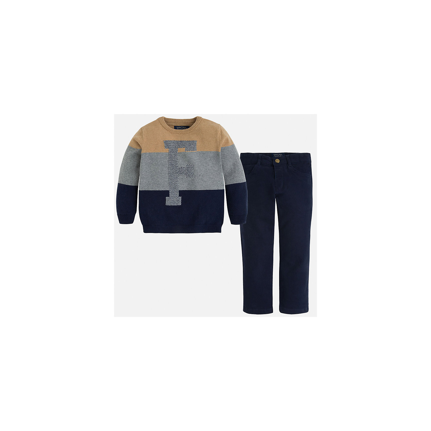 Комплект: брюки и свитер для мальчика MayoralКрасивый комплект состоящий из свитера и брюк, отлично подойдет юному моднику.<br><br>Дополнительная информация:<br><br>- В комплекте: брюки и свитер.<br>- Крой: прямой крой.<br>- Страна бренда: Испания.<br>- Состав: хлопок 60%, полиамид 30%, шерсть 10%.<br>- Цвет: темно-синий.<br>- Уход: бережная стирка при 30 градусах.<br><br>Купить комплект брюки и свитер для мальчика Mayoral, можно в нашем магазине.<br><br>Ширина мм: 190<br>Глубина мм: 74<br>Высота мм: 229<br>Вес г: 236<br>Цвет: синий<br>Возраст от месяцев: 24<br>Возраст до месяцев: 36<br>Пол: Мужской<br>Возраст: Детский<br>Размер: 98,110,122,128,134,116,104<br>SKU: 4826472