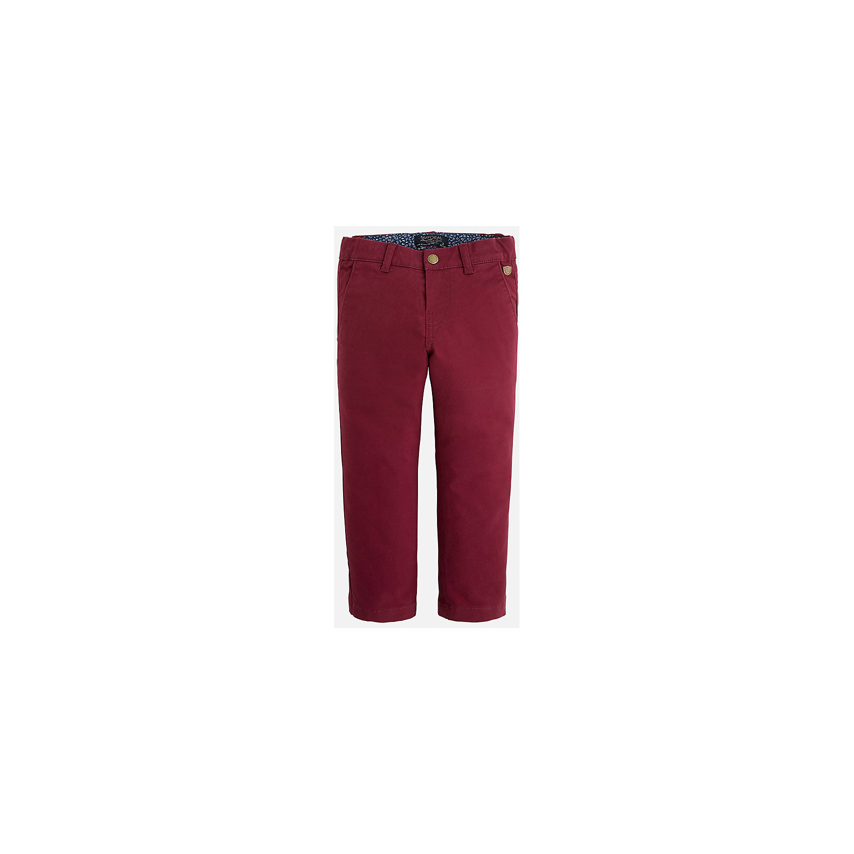 Брюки для мальчика MayoralХорошие, качественные брюки - это необходимый атрибут в гардеробе каждого человека!<br><br>Дополнительная информация:<br><br>- Крой: классический крой (Regular fit).<br>- Страна бренда: Испания.<br>- Состав: хлопок 98%, эластан 2%.<br>- Цвет: вишневый.<br>- Уход: бережная стирка при 30 градусах.<br><br>Купить брюки для мальчика Mayoral можно в нашем магазине.<br><br>Ширина мм: 215<br>Глубина мм: 88<br>Высота мм: 191<br>Вес г: 336<br>Цвет: бордовый<br>Возраст от месяцев: 60<br>Возраст до месяцев: 72<br>Пол: Мужской<br>Возраст: Детский<br>Размер: 116,110,98,104,122,134,128<br>SKU: 4826655