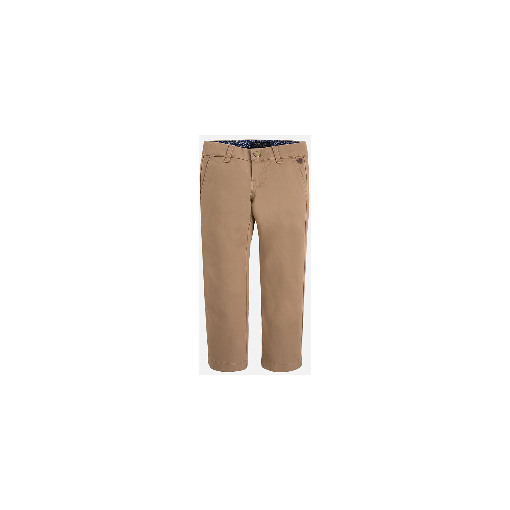 Брюки для мальчика MayoralБрюки<br>Хорошие, качественные брюки - это необходимый атрибут в гардеробе каждого человека!<br><br>Дополнительная информация:<br><br>- Крой: классический крой (Regular fit).<br>- Страна бренда: Испания.<br>- Состав: хлопок 98%, эластан 2%.<br>- Цвет: вишневый.<br>- Уход: бережная стирка при 30 градусах.<br><br>Купить брюки для мальчика Mayoral можно в нашем магазине.<br><br>Ширина мм: 215<br>Глубина мм: 88<br>Высота мм: 191<br>Вес г: 336<br>Цвет: бежевый<br>Возраст от месяцев: 96<br>Возраст до месяцев: 108<br>Пол: Мужской<br>Возраст: Детский<br>Размер: 128,104,122,116,110,98,134<br>SKU: 4826663