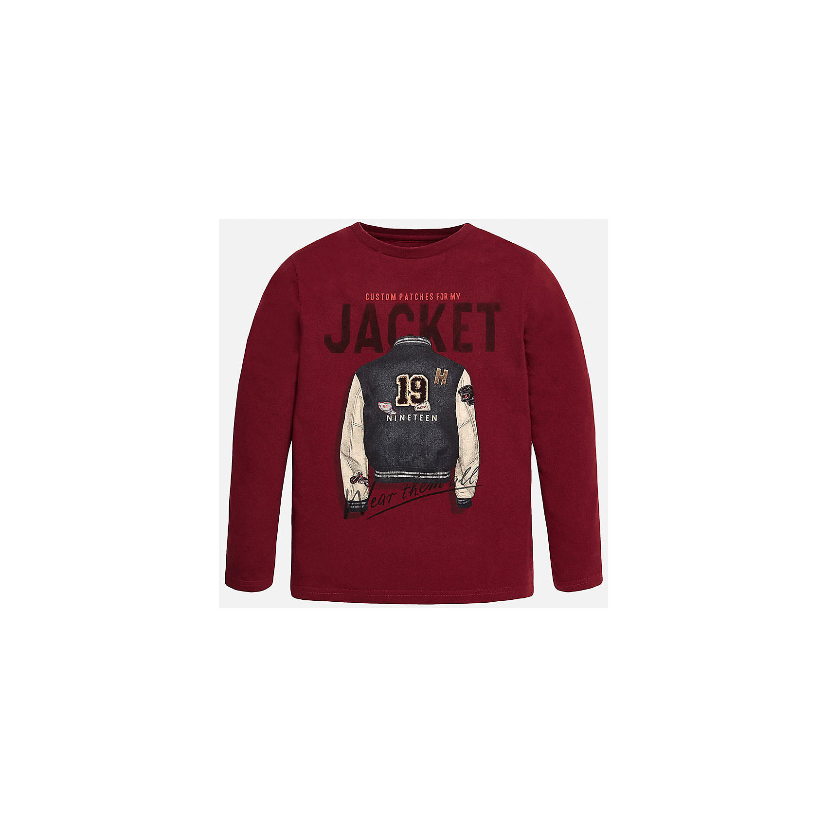 Футболка с длинным рукавом  для мальчика MayoralФутболки с длинным рукавом<br>Хлопковая футболка с длинными рукавами - это  базовая вещь в любом гардеробе. Благодаря длинным рукавам и легкому составу ткани, ее можно носить в любое время года, а яркий орнамент, подчеркнет индивидуальный стиль Вашего ребенка!<br><br>Дополнительная информация:<br><br>- Крой: прямой крой.<br>- Страна бренда: Испания.<br>- Состав: хлопок 100%.<br>- Цвет: вишневый.<br>- Уход: бережная стирка при 30 градусах.<br><br>Купить футболку с длинным рукавом для мальчика, от  Mayoral, можно в нашем магазине.<br><br>Ширина мм: 230<br>Глубина мм: 40<br>Высота мм: 220<br>Вес г: 250<br>Цвет: бордовый<br>Возраст от месяцев: 156<br>Возраст до месяцев: 168<br>Пол: Мужской<br>Возраст: Детский<br>Размер: 158/164,128/134,164/170,158/164,146/152,140/146<br>SKU: 4826701