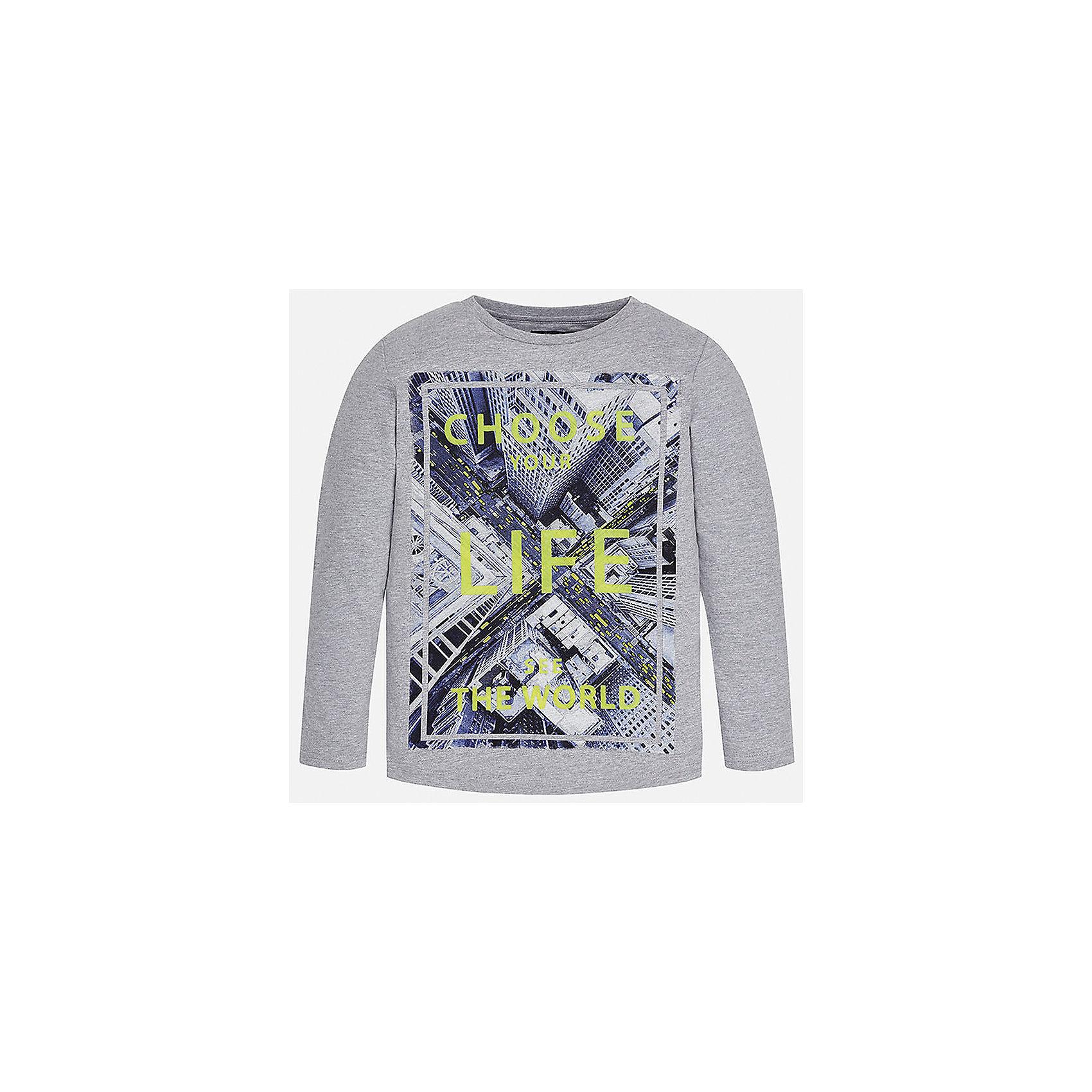 Футболка с длинным рукавом  для мальчика MayoralХлопковая футболка с длинными рукавами - это  базовая вещь в любом гардеробе. Благодаря длинным рукавам и легкому составу ткани, ее можно носить в любое время года, а яркий орнамент, подчеркнет индивидуальный стиль Вашего ребенка!<br><br>Дополнительная информация:<br><br>- Крой: прямой крой.<br>- Страна бренда: Испания.<br>- Состав: хлопок 100%.<br>- Цвет: серый.<br>- Уход: бережная стирка при 30 градусах.<br><br>Купить футболку с длинным рукавом для мальчика, от  Mayoral, можно в нашем магазине.<br><br>Ширина мм: 230<br>Глубина мм: 40<br>Высота мм: 220<br>Вес г: 250<br>Цвет: серый<br>Возраст от месяцев: 132<br>Возраст до месяцев: 144<br>Пол: Мужской<br>Возраст: Детский<br>Размер: 146/152,128/134,152/158,164/170,158/164,140/146<br>SKU: 4826722