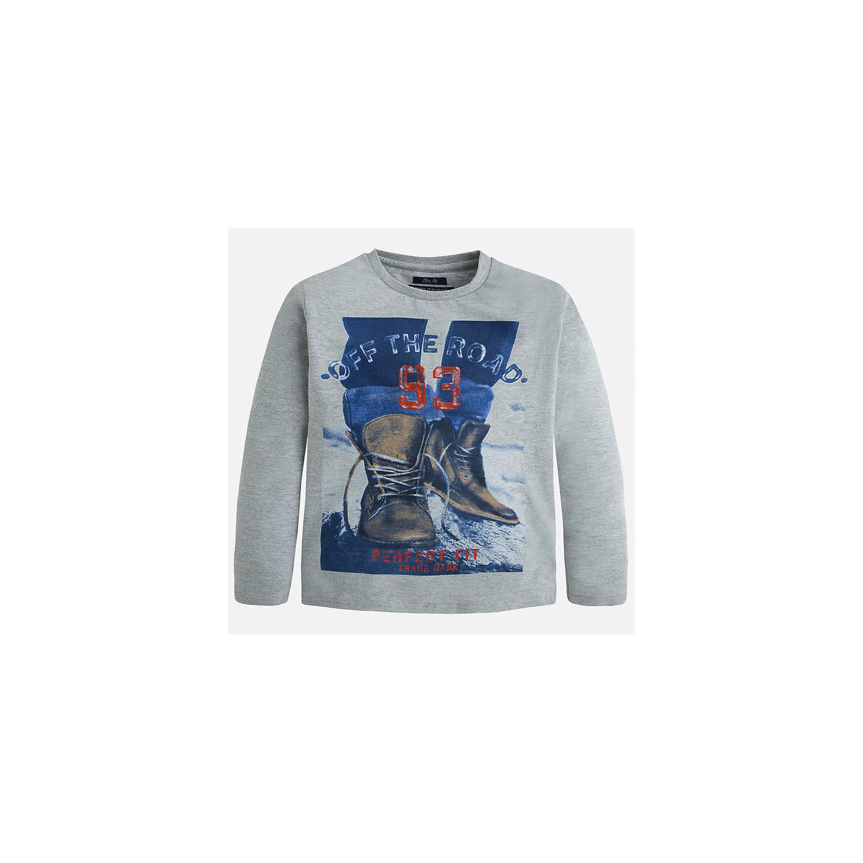 Футболка с длинным рукавом  для мальчика MayoralФутболки с длинным рукавом<br>Хлопковая футболка с длинными рукавами - это  базовая вещь в любом гардеробе. Благодаря длинным рукавам и легкому составу ткани, ее можно носить в любое время года, а яркий орнамент, подчеркнет индивидуальный стиль Вашего ребенка!<br><br>Дополнительная информация:<br><br>- Крой: приталенный крой.<br>- Страна бренда: Испания.<br>- Состав: хлопок 100%.<br>- Цвет: серый.<br>- Уход: бережная стирка при 30 градусах.<br><br>Купить футболку с длинным рукавом для мальчика, от  Mayoral, можно в нашем магазине.<br><br>Ширина мм: 230<br>Глубина мм: 40<br>Высота мм: 220<br>Вес г: 250<br>Цвет: серый<br>Возраст от месяцев: 96<br>Возраст до месяцев: 108<br>Пол: Мужской<br>Возраст: Детский<br>Размер: 128/134,158/164,164/170,158/164,146/152,140/146<br>SKU: 4826764