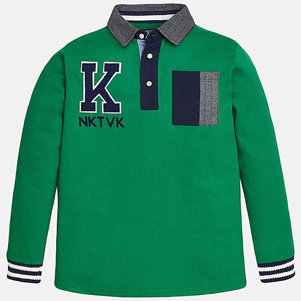 Футболка-поло с длинным рукавом для мальчика MayoralФутболки с длинным рукавом<br>Рубашка-поло для мальчика от известного испанского бренда Mayoral (Майорал). Эта стильная и удобная хлопковая рубашка с длинным рукавом придет по вкусу вашему моднику. Яркий зеленый цвет отлично сочетается с деталями отделки темно-синего цвета. Пестрый откидной воротничок имеет тот же стиль, что и кармашек на груди. Нашивка на лицевой стороне повторяет вышитые буквы на спине. У рубашки свободный прямой крой, рукава заканчиваются полосатыми трикотажными резинками. Отличное пополнение для сезона осень-зима. К этой рубашке подойдут как джинсы, так и штаны спортивного кроя. <br><br>Дополнительная информация:<br><br>- Силуэт: прямой<br>- Рукав: длинный<br>- Длина: средняя<br><br>Состав: 100% хлопок <br><br>Рубашка-поло для мальчика Mayoral (Майорал) можно купить в нашем интернет-магазине.<br><br>Подробнее:<br>• Для детей в возрасте: от 8 до 16 лет<br>• Номер товара: 4826800<br>Страна производитель: Индия<br><br>Ширина мм: 174<br>Глубина мм: 10<br>Высота мм: 169<br>Вес г: 157<br>Цвет: белый<br>Возраст от месяцев: 168<br>Возраст до месяцев: 180<br>Пол: Мужской<br>Возраст: Детский<br>Размер: 164/170,128/134,140/146,146/152,152/158,158/164<br>SKU: 4826800