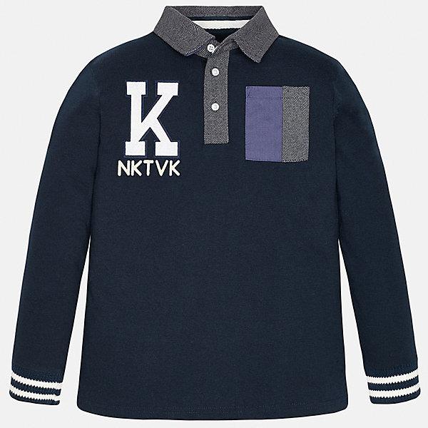 Футболка-поло с длинным рукавом для мальчика MayoralФутболки с длинным рукавом<br>Рубашка-поло для мальчика Mayoral(Майорал) изготовлена из  100% хлопка, приятного телу. Рубашка застегивается на 3 пуговицы у ворота, на груди есть карман. Украшена аппликацией и расцветкой в полоску на манжетах.<br><br>Дополнительная информация: <br>Состав: 100% хлопок<br>Цвет: темно-синий<br>Рубашку-поло для мальчика Mayoral(Майорал) вы можете приобрести в нашем интернет-магазине.<br><br>Ширина мм: 174<br>Глубина мм: 10<br>Высота мм: 169<br>Вес г: 157<br>Цвет: синий<br>Возраст от месяцев: 96<br>Возраст до месяцев: 108<br>Пол: Мужской<br>Возраст: Детский<br>Размер: 164/170,158/164,152/158,146/152,140/146,128/134<br>SKU: 4826807
