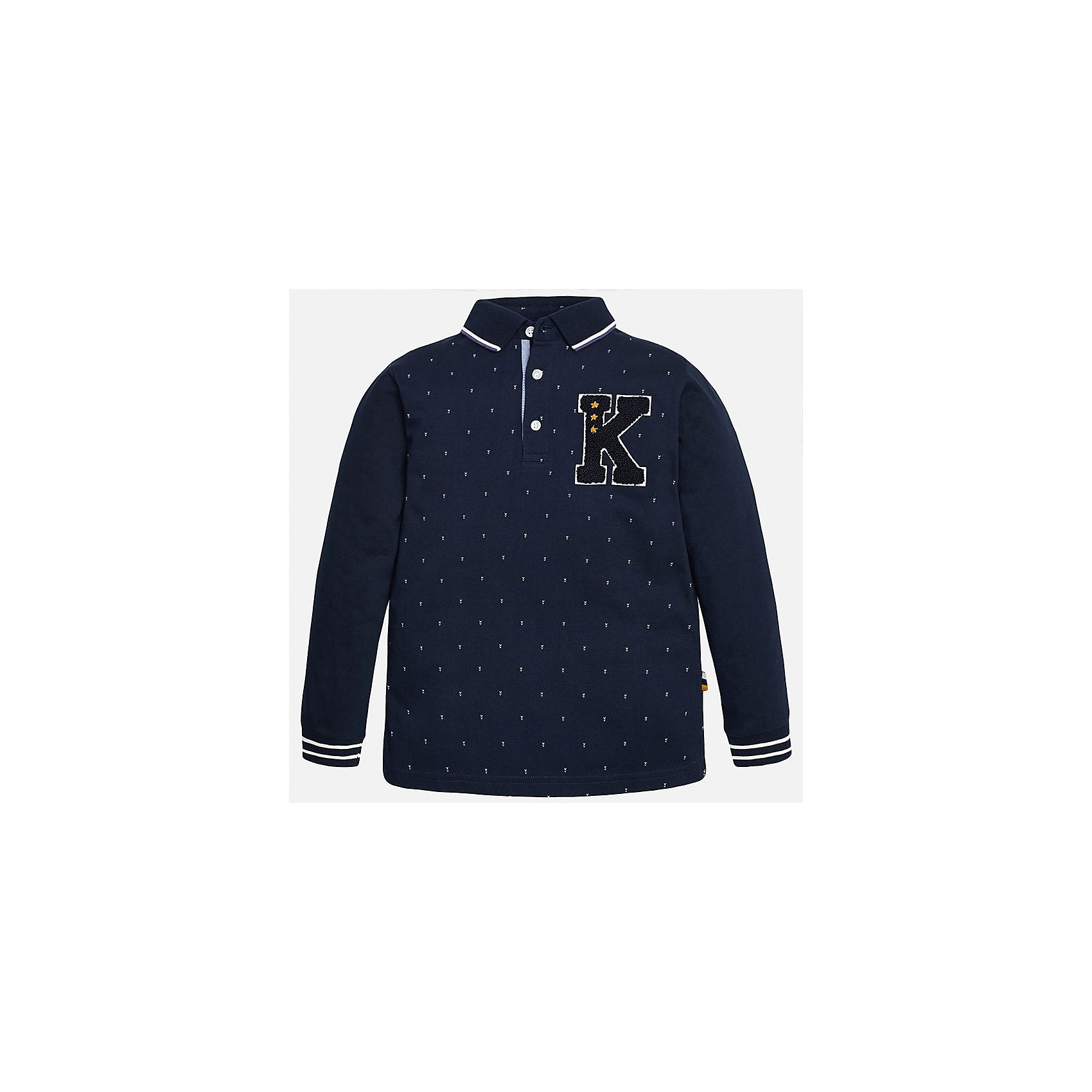 Футболка-поло с длинным рукавом для мальчика MayoralФутболки с длинным рукавом<br>Рубашка-поло для мальчика известного испанского бренда Mayoral (Майорал). Стильная и удобная рубашка на каждый день. Приятная ткань темно-синего цвета в белую крапинку прекрасно сочетается с темно-синими рукавами и белыми полосками на откидном воротничке и манжетах (манжеты пресдтавлены в виде трикотажной резинки). Рубашка застегивается на три белые пуговицы с дизайном, а качественная махровая нашивка в спортивном стиле придет по вкусу вашему ребенку. Рубашка-поло отлично подойдет как к брюкам, так и к джинсам или штанам спортивного стиля, кроме того, ее можно носить поверх обычной рубашки.<br><br>Дополнительная информация:<br><br>- Рукав: длинный<br>- Силуэт: прямой<br>Состав: 100% хлопок<br><br>Рубашку- поло для мальчиков Mayoral (Майорал) можно купить в нашем интернет-магазине.<br><br>Подробнее:<br>• Для детей в возрасте: от 9 до 14 лет<br>• Номер товара: 4826815<br>Страна производитель: Индия<br><br>Ширина мм: 174<br>Глубина мм: 10<br>Высота мм: 169<br>Вес г: 157<br>Цвет: синий<br>Возраст от месяцев: 168<br>Возраст до месяцев: 180<br>Пол: Мужской<br>Возраст: Детский<br>Размер: 164/170,158/164,152/158,146/152,140/146,128/134<br>SKU: 4826814