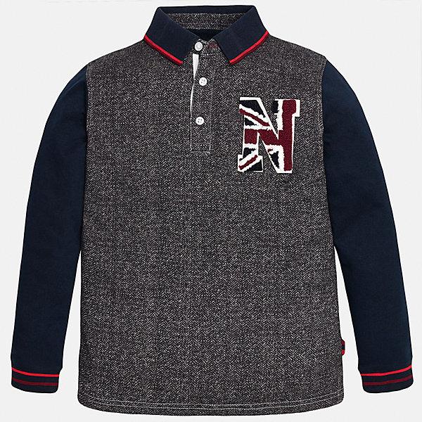 Футболка-поло с длинным рукавом для мальчика MayoralФутболки с длинным рукавом<br>Рубашка-поло для мальчика из коллекции осень-зима 2016-2017 известного испанского бренда Mayoral (Майорал). Стильная и удобная рубашка на каждый день. Пестрая ткань серо-белого цвета прекрасно сочетается с темно-синими рукавами и красными полосками на откидном воротничке и манжетах (манжеты пресдтавлены в виде трикотажной резинки). Рубашка застегивается на три пуговицы с дизайном, а качественная махровая нашивка в спортивном стиле придет по вкусу вашему ребенку. Рубашка-поло отлично подойдет как к брюкам, так и к джинсам или штанам спортивного стиля, кроме того, ее можно носить поверх обычной рубашки.<br><br>Дополнительная информация:<br><br>- Рукав: длинный<br>- Силуэт: прямой<br>Состав: 100% хлопок<br><br>Рубашку- поло для мальчиков Mayoral (Майорал) можно купить в нашем интернет-магазине.<br><br>Подробнее:<br>• Для детей в возрасте: от 9 до 14 лет<br>• Номер товара: 4826822<br>Страна производитель: Индия<br><br>Ширина мм: 174<br>Глубина мм: 10<br>Высота мм: 169<br>Вес г: 157<br>Цвет: серый<br>Возраст от месяцев: 132<br>Возраст до месяцев: 144<br>Пол: Мужской<br>Возраст: Детский<br>Размер: 146/152,164/170,128/134,140/146,152/158,158/164<br>SKU: 4826821