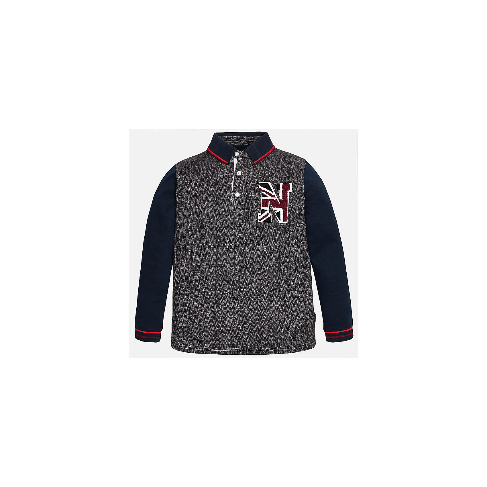 Футболка-поло с длинным рукавом для мальчика MayoralФутболки с длинным рукавом<br>Рубашка-поло для мальчика из коллекции осень-зима 2016-2017 известного испанского бренда Mayoral (Майорал). Стильная и удобная рубашка на каждый день. Пестрая ткань серо-белого цвета прекрасно сочетается с темно-синими рукавами и красными полосками на откидном воротничке и манжетах (манжеты пресдтавлены в виде трикотажной резинки). Рубашка застегивается на три пуговицы с дизайном, а качественная махровая нашивка в спортивном стиле придет по вкусу вашему ребенку. Рубашка-поло отлично подойдет как к брюкам, так и к джинсам или штанам спортивного стиля, кроме того, ее можно носить поверх обычной рубашки.<br><br>Дополнительная информация:<br><br>- Рукав: длинный<br>- Силуэт: прямой<br>Состав: 100% хлопок<br><br>Рубашку- поло для мальчиков Mayoral (Майорал) можно купить в нашем интернет-магазине.<br><br>Подробнее:<br>• Для детей в возрасте: от 9 до 14 лет<br>• Номер товара: 4826822<br>Страна производитель: Индия<br><br>Ширина мм: 174<br>Глубина мм: 10<br>Высота мм: 169<br>Вес г: 157<br>Цвет: серый<br>Возраст от месяцев: 132<br>Возраст до месяцев: 144<br>Пол: Мужской<br>Возраст: Детский<br>Размер: 146/152,158/164,152/158,140/146,128/134,164/170<br>SKU: 4826821