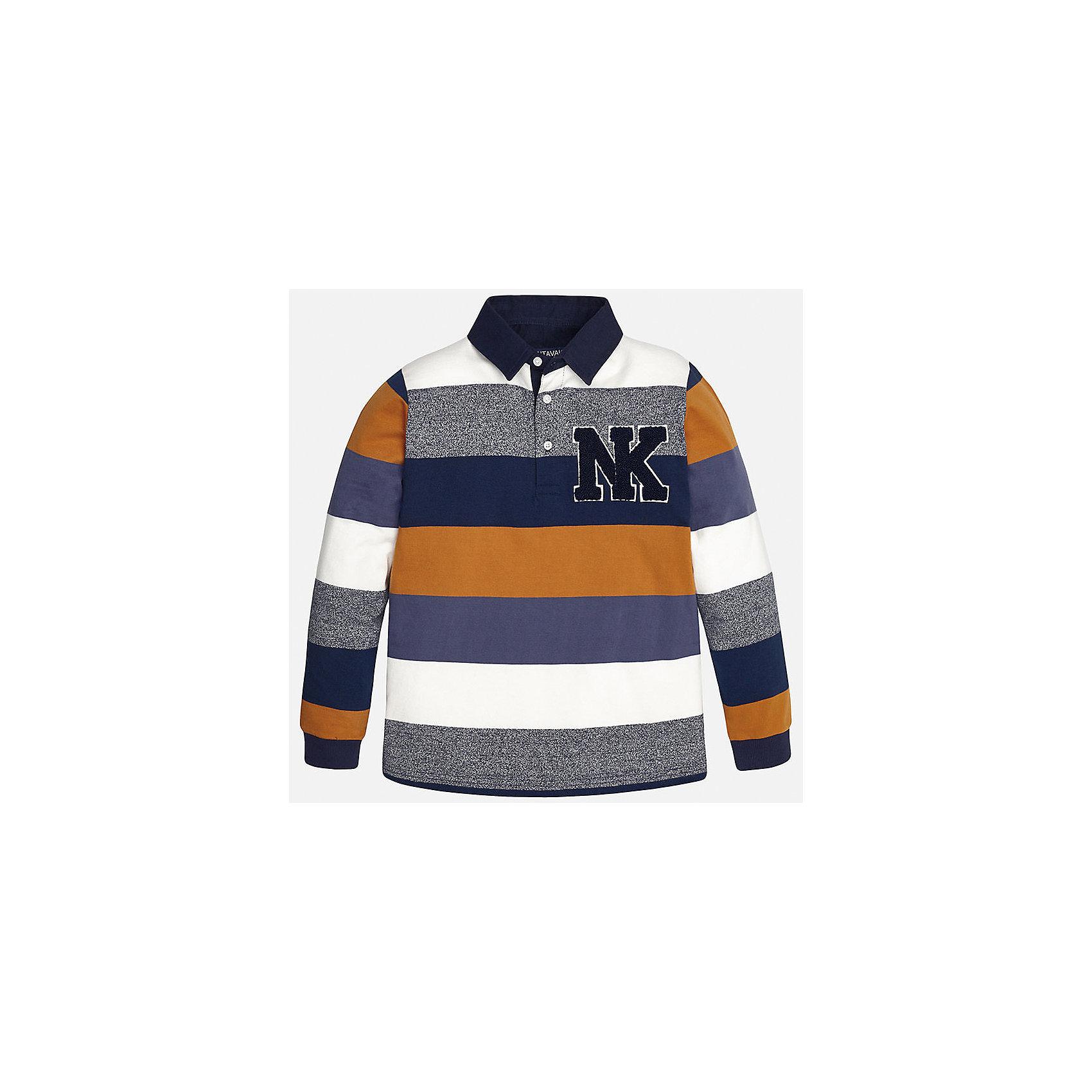 Рубашка-поло для мальчика MayoralРубашка-поло для мальчика из коллекции осень-зима 2016-2017 известного испанского бренда Mayoral (Майорал). Стильная и удобная рубашка на каждый день. Интересные полоски в темно-синих и оранжевых тонах прекрасно сочетаются с полосками пестрого серого и белого цветов. Рубашка имеет откидной воротничок, застегивается на три пуговицы с дизайном, а качественная махровая нашивка в спортивном стиле придет по вкусу вашему ребенку. Рубашка-поло отлично подойдет как к брюкам, так и к джинсам или штанам спортивного стиля, кроме того, ее можно носить поверх обычной рубашки.<br><br>Дополнительная информация:<br><br>- Рукав: длинный<br>- Силуэт: прямой<br>Состав: 92% хлопок, 8% полиэстер<br><br>Рубашку- поло для мальчиков Mayoral (Майорал) можно купить в нашем интернет-магазине.<br><br>Подробнее:<br>• Для детей в возрасте: от 9 до 12 лет<br>• Номер товара: 4826829<br>Страна производитель: Индия<br><br>Ширина мм: 174<br>Глубина мм: 10<br>Высота мм: 169<br>Вес г: 157<br>Цвет: желтый<br>Возраст от месяцев: 156<br>Возраст до месяцев: 168<br>Пол: Мужской<br>Возраст: Детский<br>Размер: 158/164,164/170,128/134,140/146,146/152,152/158<br>SKU: 4826828