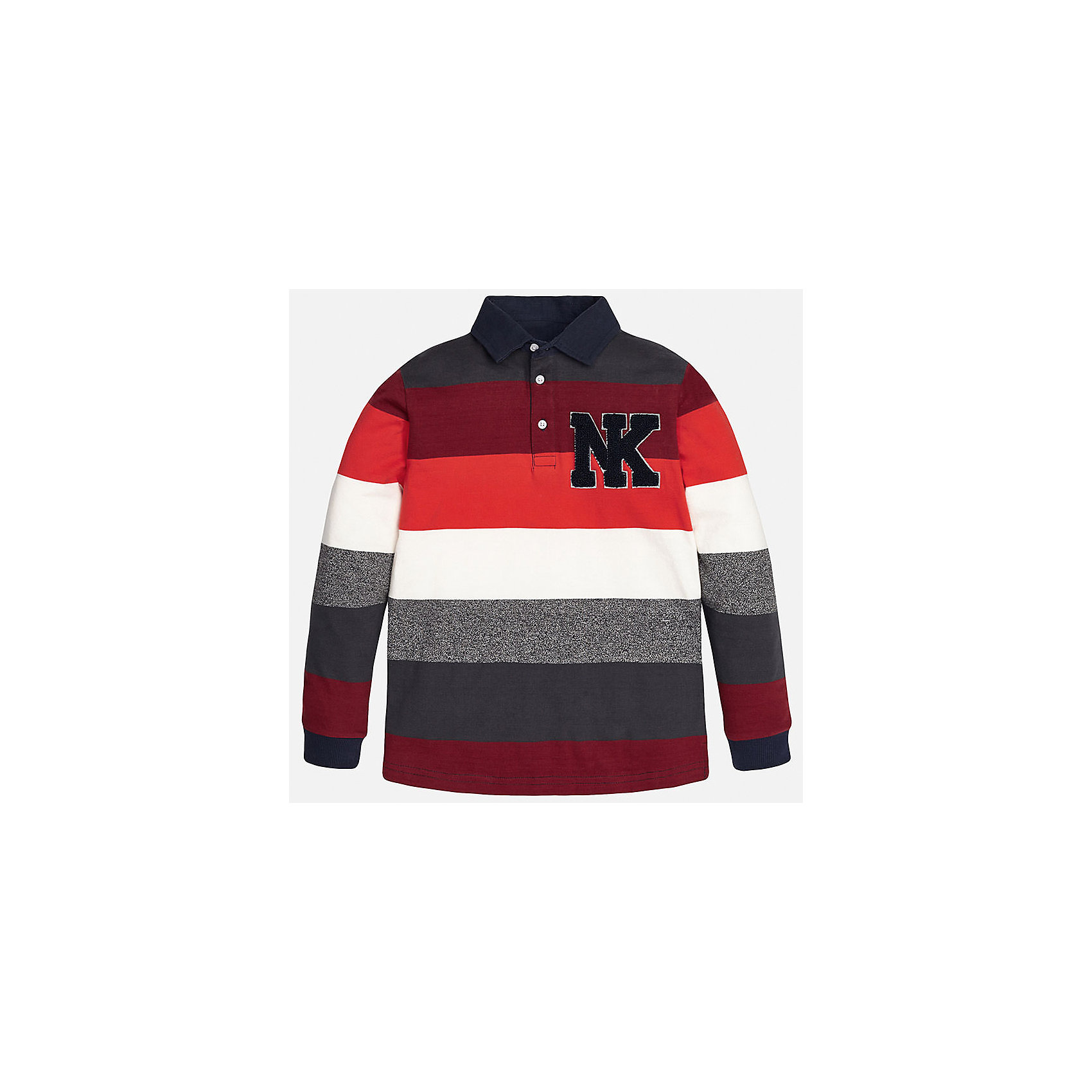 Футболка-поло с длинным рукавом для мальчика MayoralФутболки с длинным рукавом<br>Рубашка-поло для мальчика от известного испанского бренда Mayoral(Майорал). Рубашка изготовлена из качественного хлопка, имеет оригинальный контрастный дизайн и украшена аппликацией на груди. Такая рубашка непременно понравиться ребенку и он будет носить ее с удовольствием!<br><br>Дополнительная информация:<br>Состав: 92% хлопок, 8% полиэстер<br>Цвет: красный/серый/белый<br>Рубашку-поло для мальчика Mayoral(Майорал) можно купить в нашем интернет-магазине.<br><br>Ширина мм: 174<br>Глубина мм: 10<br>Высота мм: 169<br>Вес г: 157<br>Цвет: бордовый<br>Возраст от месяцев: 96<br>Возраст до месяцев: 108<br>Пол: Мужской<br>Возраст: Детский<br>Размер: 128/134,164/170,146/152,140/146,152/158,158/164<br>SKU: 4826835