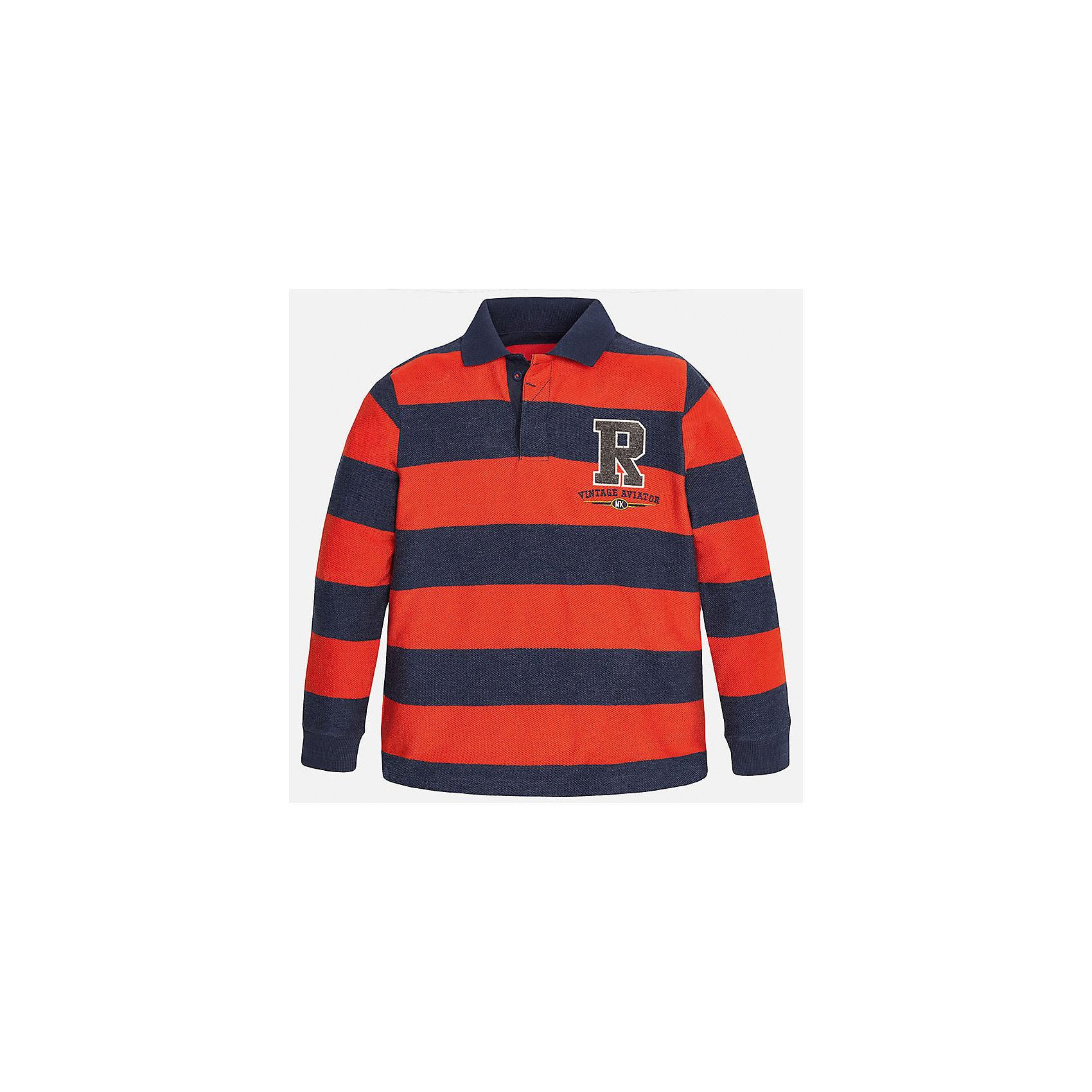 Футболка-поло с длинным рукавом для мальчика MayoralФутболки с длинным рукавом<br>Рубашка-поло для мальчика от известного испанского бренда Mayoral(Майорал). Рубашка изготовлена из качественного хлопка, застегивается на 3 пуговицы на вороте. Имеет слегка зауженные манжеты, аппликацию на груди и дизайн в полоску. Отличный вариант на каждый день!<br><br>Дополнительная информация:<br>Состав: 100% хлопок<br>Цвет: красный/темно-синий<br>Вы можете приобрести рубашку-поло для мальчика Mayoral(Майорал) в нашем интернет-магазине.<br><br>Ширина мм: 174<br>Глубина мм: 10<br>Высота мм: 169<br>Вес г: 157<br>Цвет: красный<br>Возраст от месяцев: 144<br>Возраст до месяцев: 156<br>Пол: Мужской<br>Возраст: Детский<br>Размер: 152/158,164/170,158/164,140/146,128/134,146/152<br>SKU: 4826849