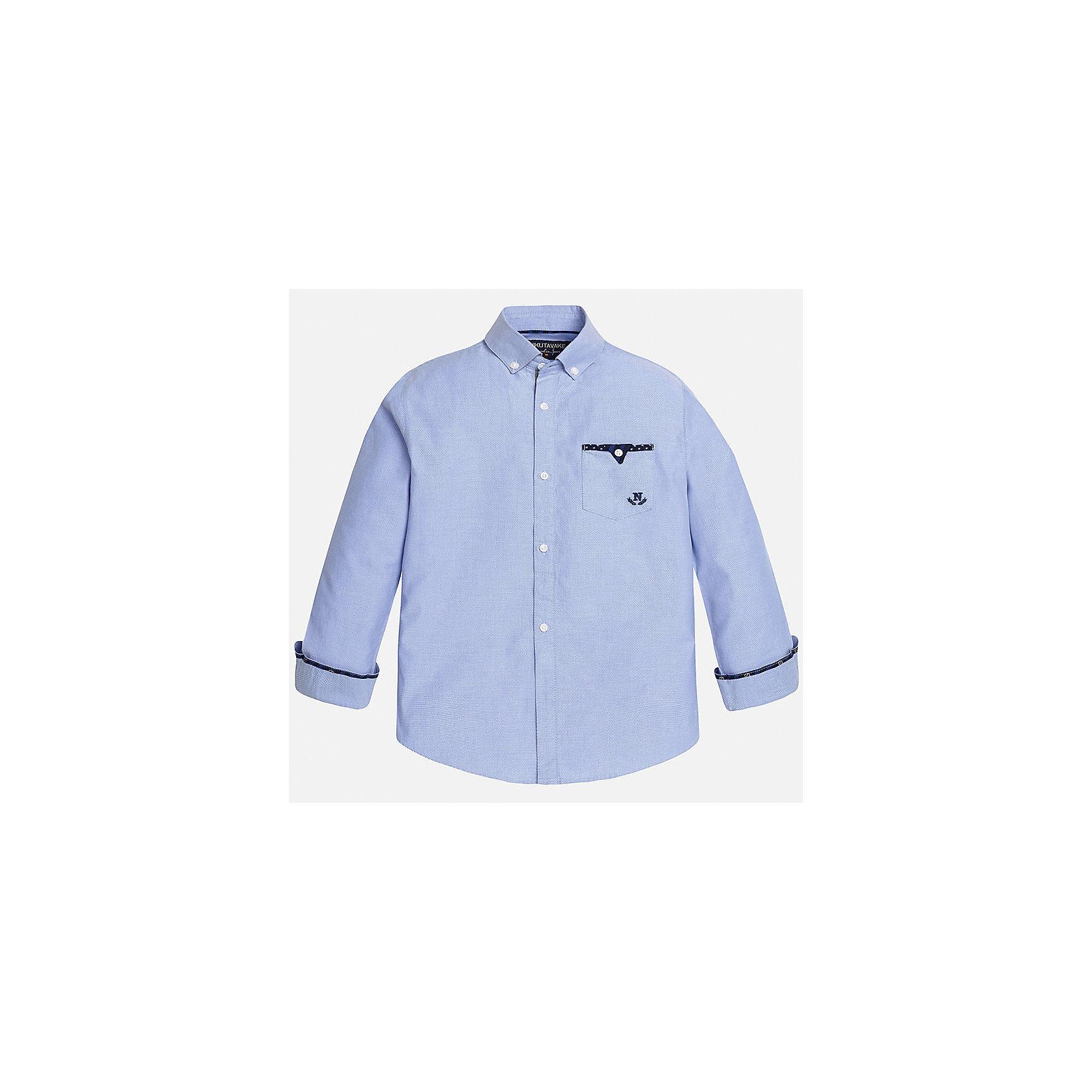 Рубашка для мальчика MayoralРубашка для мальчика из коллекции осень-зима 2016-2017 известного испанского бренда Mayoral (Майорал). Стильная и удобная рубашка на каждый день. Приятный пастельно-голубой цвет рубашки прекрасно сочетается с темно-синими деталями и пестрыми заплатами на локтях. Рубашка застегивается на пуговицы с дизайном, а качественный дизайн манжетов при подвороте придет по вкусу вашему ребенку. Рубашка отлично подойдет как к брюкам, так и к джинсам кроме того, ее можно носить поверх футболки.<br><br>Дополнительная информация:<br><br>- Рукав: длинный<br>- Силуэт: прямой<br>Состав: 100% хлопок<br><br>Рубашку для мальчиков Mayoral (Майорал) можно купить в нашем интернет-магазине.<br><br>Подробнее:<br>• Для детей в возрасте: от 10 до 16 лет<br>• Номер товара: 4826878<br>Страна производитель: Индия<br><br>Ширина мм: 174<br>Глубина мм: 10<br>Высота мм: 169<br>Вес г: 157<br>Цвет: голубой<br>Возраст от месяцев: 96<br>Возраст до месяцев: 108<br>Пол: Мужской<br>Возраст: Детский<br>Размер: 128/134,146/152,164/170,158/164,152/158,140/146<br>SKU: 4826877
