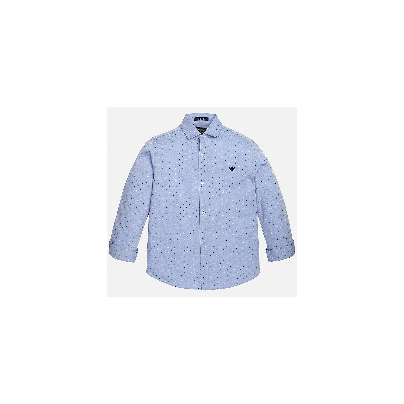 Рубашка для мальчика MayoralБлузки и рубашки<br>Рубашка для мальчика из коллекции осень-зима 2016-2017 известного испанского бренда Mayoral (Майорал). Стильная и удобная рубашка на каждый день. Приятный пастельно-голубой цвет рубашки прекрасно сочетается с темно-синими и белыми крапинками. Рубашка застегивается на пуговицы с дизайном. Рубашка отлично подойдет как к брюкам, так и к джинсам кроме того, ее можно носить поверх футболки.<br><br>Дополнительная информация:<br><br>- Рукав: длинный<br>- Силуэт: слим-фит<br>Состав: 100% хлопок<br><br>Рубашку для мальчиков Mayoral (Майорал) можно купить в нашем интернет-магазине.<br><br>Подробнее:<br>• Для детей в возрасте: от 10 до 14 лет<br>• Номер товара: 4826892<br>Страна производитель: Индия<br><br>Ширина мм: 174<br>Глубина мм: 10<br>Высота мм: 169<br>Вес г: 157<br>Цвет: голубой<br>Возраст от месяцев: 144<br>Возраст до месяцев: 156<br>Пол: Мужской<br>Возраст: Детский<br>Размер: 158/164,128/134,164/170,158/164,146/152,140/146<br>SKU: 4826891