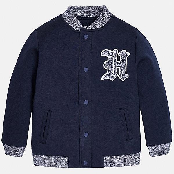 Куртка для мальчика MayoralВерхняя одежда<br>Куртка для мальчика от известного испанского бренда Mayoral(Майорал). Куртка очень удобная, застегивается на кнопки спереди. Есть 2 кармана сбоку, аппликация на груди, резинка на манжетах. Модель украшена аппликацией в виде эмблемы на груди. Отлично подойдет для спортивного образа ребенка!<br><br>Дополнительная информация:<br>Состав: 63% полиэстер, 29% вискоза, 8% эластан<br>Цвет: темно-синий<br>Вы можете приобрести куртку Mayoral(Майорал) в нашем интернет-магазине.<br><br>Ширина мм: 356<br>Глубина мм: 10<br>Высота мм: 245<br>Вес г: 519<br>Цвет: синий<br>Возраст от месяцев: 132<br>Возраст до месяцев: 144<br>Пол: Мужской<br>Возраст: Детский<br>Размер: 146/152,158/164,164/170,140/146,128/134,152/158<br>SKU: 4826996