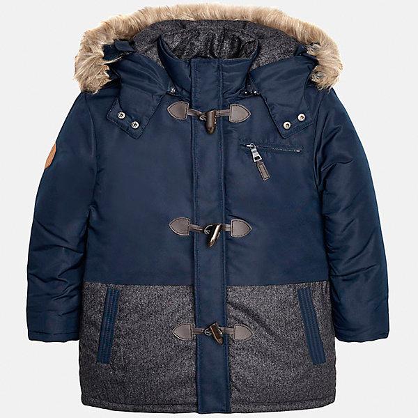 Куртка для мальчика MayoralВерхняя одежда<br>Характеристики товара:<br><br>• состав: 100% полиэстер<br>• сезон: демисезон<br>• цвет: синий<br>• температурный режим: +10 до -5<br>• капюшон отстегивается<br>• страна бренда: Испания<br><br>Куртка для мальчика от популярного испанского бренда Mayoral(Майорал). Теплая куртка с капюшоном, спереди есть крупные пуговицы и 3 кармана. Капюшон с искусственным мехом. В этой куртке прогулки будут комфортными!<br><br>Вы можете приобрести куртку Mayoral(Майорал) в нашем интернет-магазине.<br><br>Ширина мм: 356<br>Глубина мм: 10<br>Высота мм: 245<br>Вес г: 519<br>Цвет: синий<br>Возраст от месяцев: 156<br>Возраст до месяцев: 168<br>Пол: Мужской<br>Возраст: Детский<br>Размер: 158/164,128/134,152/158,146/152,164/170,140/146<br>SKU: 4827092