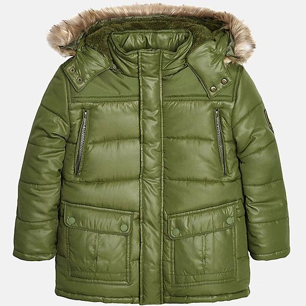 Куртка для мальчика MayoralВерхняя одежда<br>Теплая куртка для мальчика от популярного испанского бренда Mayoral(Майорал). Куртка очень удобная, изготовлена из материалов, отлично сохраняющих тепло. Есть капюшон с искусственным мехом, застегивается на кнопки. Куртка застегивается на молнию, есть 2 кармана на груди и 2 кармана по бокам.<br><br>Дополнительная информация:<br>Состав: 100% полиэстер<br>Цвет: зеленый<br>Куртку Mayoral(Майорал) можно купить в нашем интернет-магазине.<br>Ширина мм: 356; Глубина мм: 10; Высота мм: 245; Вес г: 519; Цвет: хаки; Возраст от месяцев: 96; Возраст до месяцев: 108; Пол: Мужской; Возраст: Детский; Размер: 128/134,146/152,164/170,158/164,152/158,140/146; SKU: 4827134;