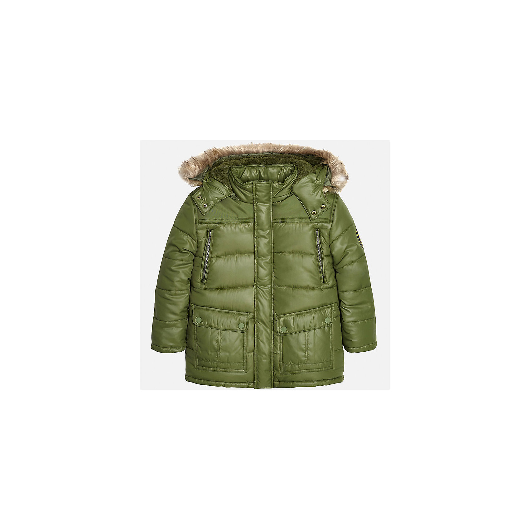 Куртка для мальчика MayoralВерхняя одежда<br>Теплая куртка для мальчика от популярного испанского бренда Mayoral(Майорал). Куртка очень удобная, изготовлена из материалов, отлично сохраняющих тепло. Есть капюшон с искусственным мехом, застегивается на кнопки. Куртка застегивается на молнию, есть 2 кармана на груди и 2 кармана по бокам.<br><br>Дополнительная информация:<br>Состав: 100% полиэстер<br>Цвет: зеленый<br>Куртку Mayoral(Майорал) можно купить в нашем интернет-магазине.<br><br>Ширина мм: 356<br>Глубина мм: 10<br>Высота мм: 245<br>Вес г: 519<br>Цвет: хаки<br>Возраст от месяцев: 96<br>Возраст до месяцев: 108<br>Пол: Мужской<br>Возраст: Детский<br>Размер: 128/134,146/152,140/146,152/158,158/164,164/170<br>SKU: 4827134
