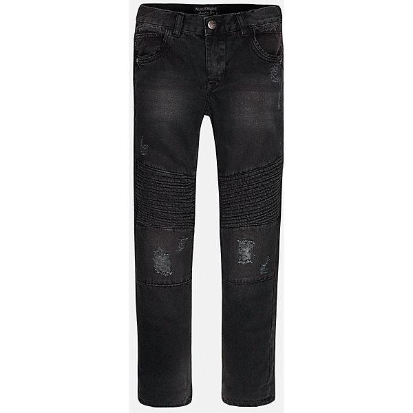 Брюки для мальчика MayoralДжинсы<br>Джинсовые брюки для мальчика от испанской марки Mayoral(Майорал). Изготовлены из качественного хлопка, приятного телу. Есть по 2 кармана спереди и сзади. Оригинальный дизайн с эффектом потертости понравится начинающим модникам!<br><br>Дополнительная информация:<br>Состав: 100% хлопок<br>Цвет: черный<br>Вы можете приобрести брюки для мальчика Mayoral(майорал) в нашем интернет-магазине.<br><br>Ширина мм: 215<br>Глубина мм: 88<br>Высота мм: 191<br>Вес г: 336<br>Цвет: черный<br>Возраст от месяцев: 96<br>Возраст до месяцев: 108<br>Пол: Мужской<br>Возраст: Детский<br>Размер: 128/134,164/170,140/146,146/152,152/158,158/164<br>SKU: 4827190