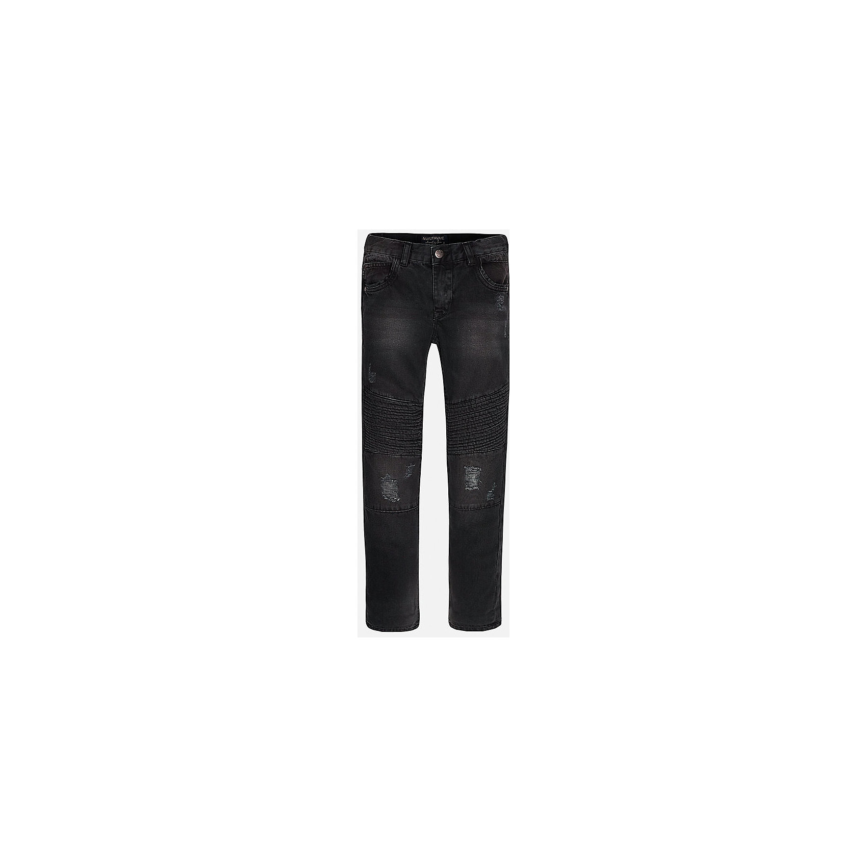 Брюки для мальчика MayoralДжинсы<br>Джинсовые брюки для мальчика от испанской марки Mayoral(Майорал). Изготовлены из качественного хлопка, приятного телу. Есть по 2 кармана спереди и сзади. Оригинальный дизайн с эффектом потертости понравится начинающим модникам!<br><br>Дополнительная информация:<br>Состав: 100% хлопок<br>Цвет: черный<br>Вы можете приобрести брюки для мальчика Mayoral(майорал) в нашем интернет-магазине.<br><br>Ширина мм: 215<br>Глубина мм: 88<br>Высота мм: 191<br>Вес г: 336<br>Цвет: черный<br>Возраст от месяцев: 156<br>Возраст до месяцев: 168<br>Пол: Мужской<br>Возраст: Детский<br>Размер: 158/164,152/158,146/152,140/146,128/134,164/170<br>SKU: 4827190