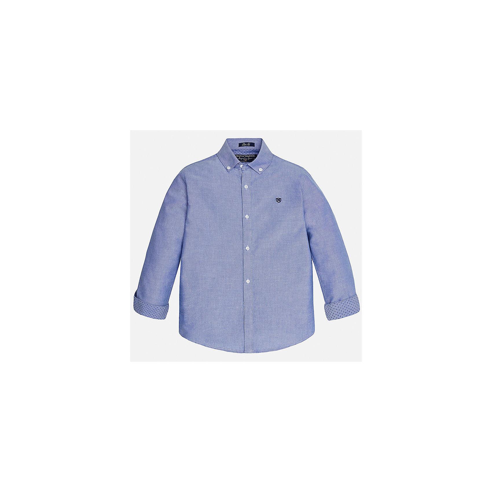 Рубашка для мальчика MayoralРубашка для мальчика из коллекции осень-зима 2016-2017 известного испанского бренда Mayoral (Майорал). Стильная и удобная рубашка на каждый день. Приятный светло-синий цвет рубашки прекрасно сочетается с синими крапинками на подвороте рукавов. Рубашка застегивается на пуговицы и отлично подойдет как к брюкам, так и к джинсам кроме того, ее можно носить поверх футболки.<br><br>Дополнительная информация:<br><br>- Рукав: длинный<br>- Силуэт: слим-фит<br>Состав: 100% хлопок<br><br>Рубашку для мальчиков Mayoral (Майорал) можно купить в нашем интернет-магазине.<br><br>Подробнее:<br>• Для детей в возрасте: от 10 до 14 лет<br>• Номер товара: 4827233<br>Страна производитель: Бангладеш<br><br>Ширина мм: 174<br>Глубина мм: 10<br>Высота мм: 169<br>Вес г: 157<br>Цвет: голубой<br>Возраст от месяцев: 168<br>Возраст до месяцев: 180<br>Пол: Мужской<br>Возраст: Детский<br>Размер: 164/170,158/164,158/164,146/152,128/134,140/146<br>SKU: 4827232