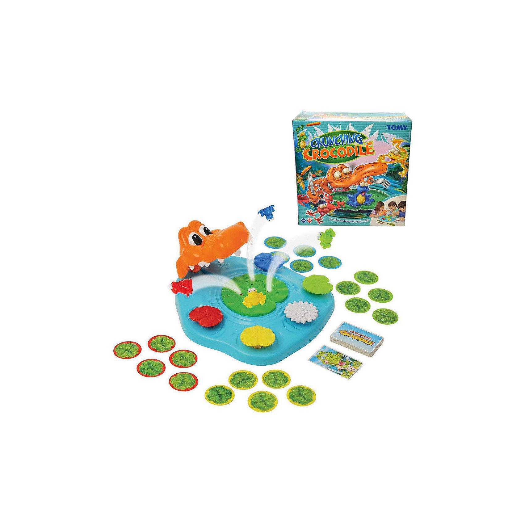 Игра Берегись Крокодила!, TOMYАктивные игры<br>Характеристики игры Берегись Крокодила!:<br><br>-возраст: от 5 лет<br>- пол: для мальчиков и девочек<br>- комплект: игровое поле, карточки, 4 лягушки.<br>-количество предполагаемых игроков: 3-5.<br>- материал: пластик, картон.<br>- размер упаковки: 26 * 26 * 12 см.<br>-упаковка: картонная коробка.<br>-вес: 800 гр.<br>-страна обладатель бренда: Великобритания.<br><br>Настольная игра Берегись Крокодила! от компании Tomy носит развлекательный характер. В нее можно играть небольшой компанией: с семьей или лучшими друзьями. Ведущий переворачивает картонные карточки, на которых изображены различные животные. Если попадается картинка с крокодилом, то надо быстро нажать на листок лилии. Цель игры - спасти свою лягушку от крокодила. Все элементы набора имеются насыщенные цвета.<br>Карточная игра поможет развить внимательность и реакцию. Время за ней пролетит быстро и весело.<br><br>Игру Берегись Крокодила! торговой марки Tomy (Томи) можно купить в нашем интернет-магазине.<br><br>Ширина мм: 275<br>Глубина мм: 273<br>Высота мм: 121<br>Вес г: 804<br>Возраст от месяцев: 48<br>Возраст до месяцев: 84<br>Пол: Унисекс<br>Возраст: Детский<br>SKU: 4827977