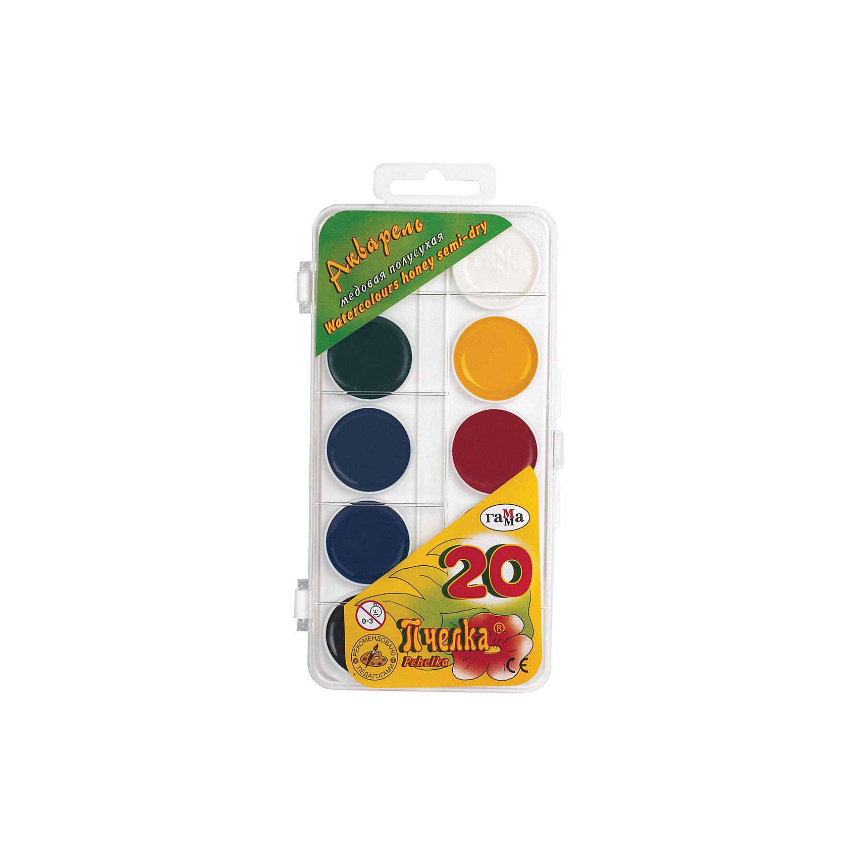 Акварельные краски Пчелка, 20 цв.Краски в пластиковой коробке содержат стойкие и яркие пигменты, что позволяет получать насыщенные изображения с эффектом бархатистости цвета. Краски изготовлены с добавлением натуральной патоки и пчелиного меда.<br><br>Ширина мм: 85<br>Глубина мм: 15<br>Высота мм: 170<br>Вес г: 115<br>Возраст от месяцев: 36<br>Возраст до месяцев: 2147483647<br>Пол: Унисекс<br>Возраст: Детский<br>SKU: 4827988