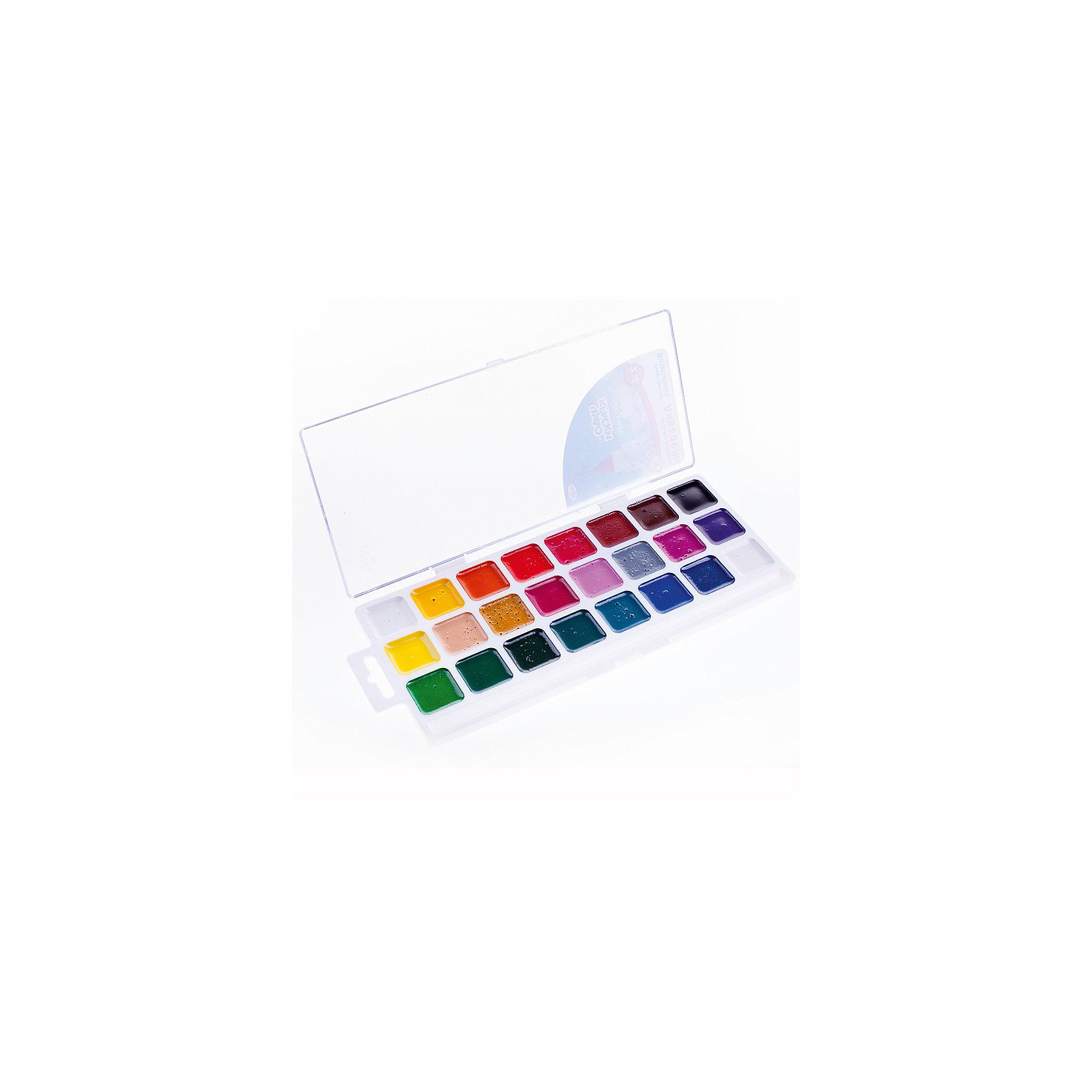 Акварельные краски Чудо-краски, 23 цв.Краски в пластиковой коробке содержат стойкие и яркие пигменты, что позволяет получать насыщенные изображения с эффектом бархатистости цвета. Краска всех цветов на одной подложке. Краски изготовлены с добавлением натуральной патоки и пчелиного меда.<br><br>Ширина мм: 240<br>Глубина мм: 105<br>Высота мм: 150<br>Вес г: 170<br>Возраст от месяцев: 36<br>Возраст до месяцев: 2147483647<br>Пол: Унисекс<br>Возраст: Детский<br>SKU: 4827990