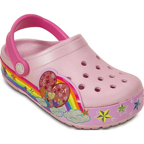 Сабо Kids' CrocsLights Rainbow Heart Clog CrocsПляжная обувь<br>Характеристики товара:<br><br>• цвет: розовый<br>• материал: 100% полимер Croslite™<br>• литая модель<br>• вентиляционные отверстия<br>• бактериостатичный материал<br>• пяточный ремешок фиксирует стопу<br>• толстая устойчивая подошва<br>• отверстия для использования украшений<br>• анатомическая стелька с массажными точками стимулирует кровообращение<br>• страна бренда: США<br>• страна изготовитель: Китай<br><br>Для правильного развития ребенка крайне важно, чтобы обувь была удобной. Такие сабо обеспечивают детям необходимый комфорт, а анатомическая стелька с массажными линиями для стимуляции кровообращения позволяет ножкам дольше не уставать. Сабо легко надеваются и снимаются, отлично сидят на ноге. Материал, из которого они сделаны, не дает размножаться бактериям, поэтому такая обувь препятствует образованию неприятного запаха и появлению болезней стоп. <br>Обувь от американского бренда Crocs в данный момент завоевала широкую популярность во всем мире, и это не удивительно - ведь она невероятно удобна. Её носят врачи, спортсмены, звёзды шоу-бизнеса, люди, которым много времени приходится бывать на ногах - они понимают, как важна комфортная обувь. Продукция Crocs - это качественные товары, созданные с применением новейших технологий. Обувь отличается стильным дизайном и продуманной конструкцией. Изделие производится из качественных и проверенных материалов, которые безопасны для детей.<br><br>Сабо от торговой марки Crocs можно купить в нашем интернет-магазине.<br><br>Ширина мм: 225<br>Глубина мм: 139<br>Высота мм: 112<br>Вес г: 290<br>Цвет: розовый<br>Возраст от месяцев: 24<br>Возраст до месяцев: 36<br>Пол: Женский<br>Возраст: Детский<br>Размер: 26,31/32,34/35,33/34,25,24,23,30,29,28,27<br>SKU: 4828114