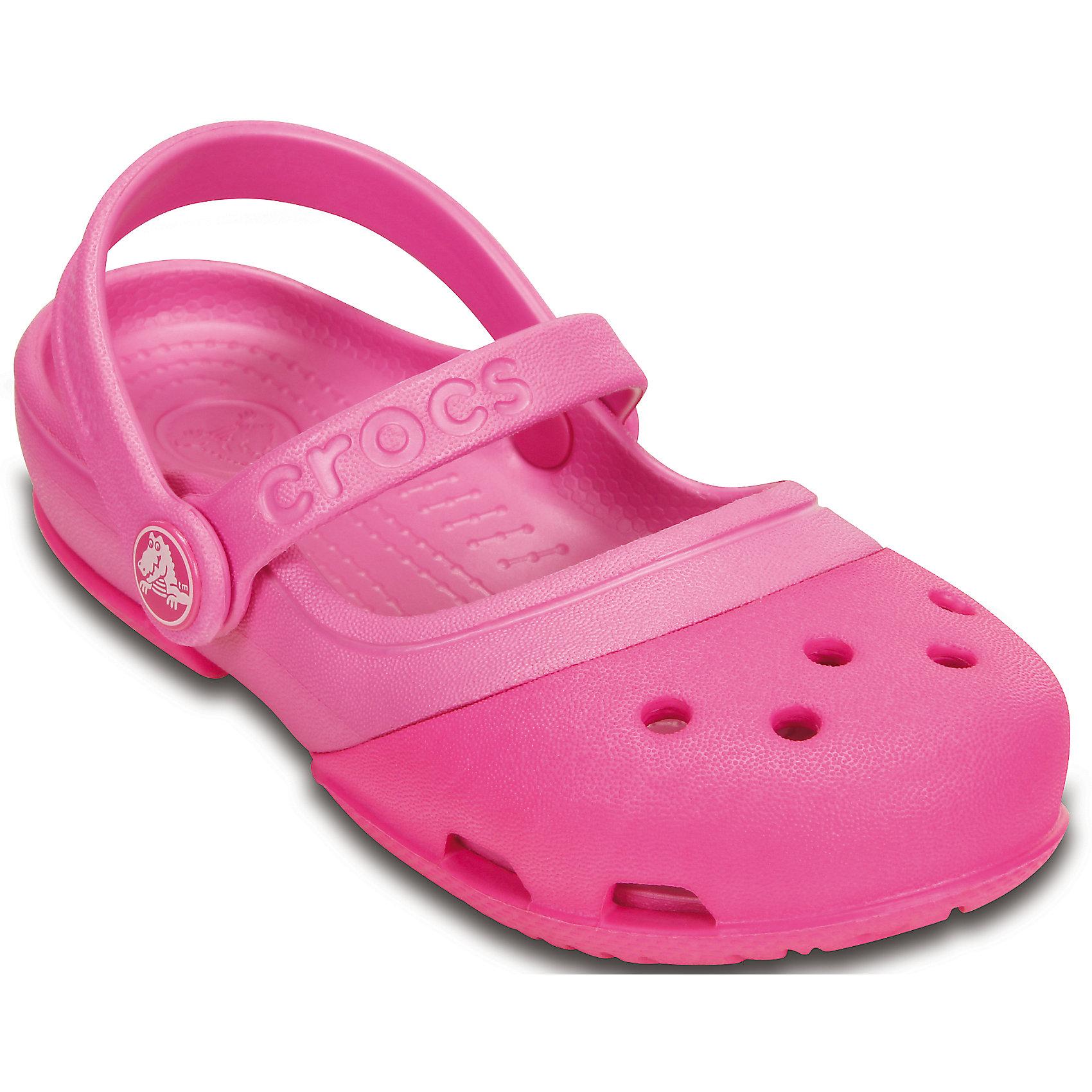 Сабо Electro IIMJPS для девочки CrocsПляжная обувь<br>Характеристики товара:<br><br>• цвет: розовый<br>• материал: 100% полимер Croslite™<br>• литая модель<br>• вентиляционные отверстия<br>• бактериостатичный материал<br>• пяточный ремешок фиксирует стопу<br>• толстая устойчивая подошва<br>• отверстия для использования украшений<br>• анатомическая стелька с массажными точками стимулирует кровообращение<br>• страна бренда: США<br>• страна изготовитель: Китай<br><br>Для правильного развития ребенка крайне важно, чтобы обувь была удобной. Такие сабо обеспечивают детям необходимый комфорт, а анатомическая стелька с массажными линиями для стимуляции кровообращения позволяет ножкам дольше не уставать. Сабо легко надеваются и снимаются, отлично сидят на ноге. Материал, из которого они сделаны, не дает размножаться бактериям, поэтому такая обувь препятствует образованию неприятного запаха и появлению болезней стоп. <br>Обувь от американского бренда Crocs в данный момент завоевала широкую популярность во всем мире, и это не удивительно - ведь она невероятно удобна. Её носят врачи, спортсмены, звёзды шоу-бизнеса, люди, которым много времени приходится бывать на ногах - они понимают, как важна комфортная обувь. Продукция Crocs - это качественные товары, созданные с применением новейших технологий. Обувь отличается стильным дизайном и продуманной конструкцией. Изделие производится из качественных и проверенных материалов, которые безопасны для детей.<br><br>Сабо для девочки от торговой марки Crocs можно купить в нашем интернет-магазине.<br><br>Ширина мм: 225<br>Глубина мм: 139<br>Высота мм: 112<br>Вес г: 290<br>Цвет: розовый<br>Возраст от месяцев: 24<br>Возраст до месяцев: 36<br>Пол: Женский<br>Возраст: Детский<br>Размер: 26,31/32,24,28,27,29,30,25<br>SKU: 4828153
