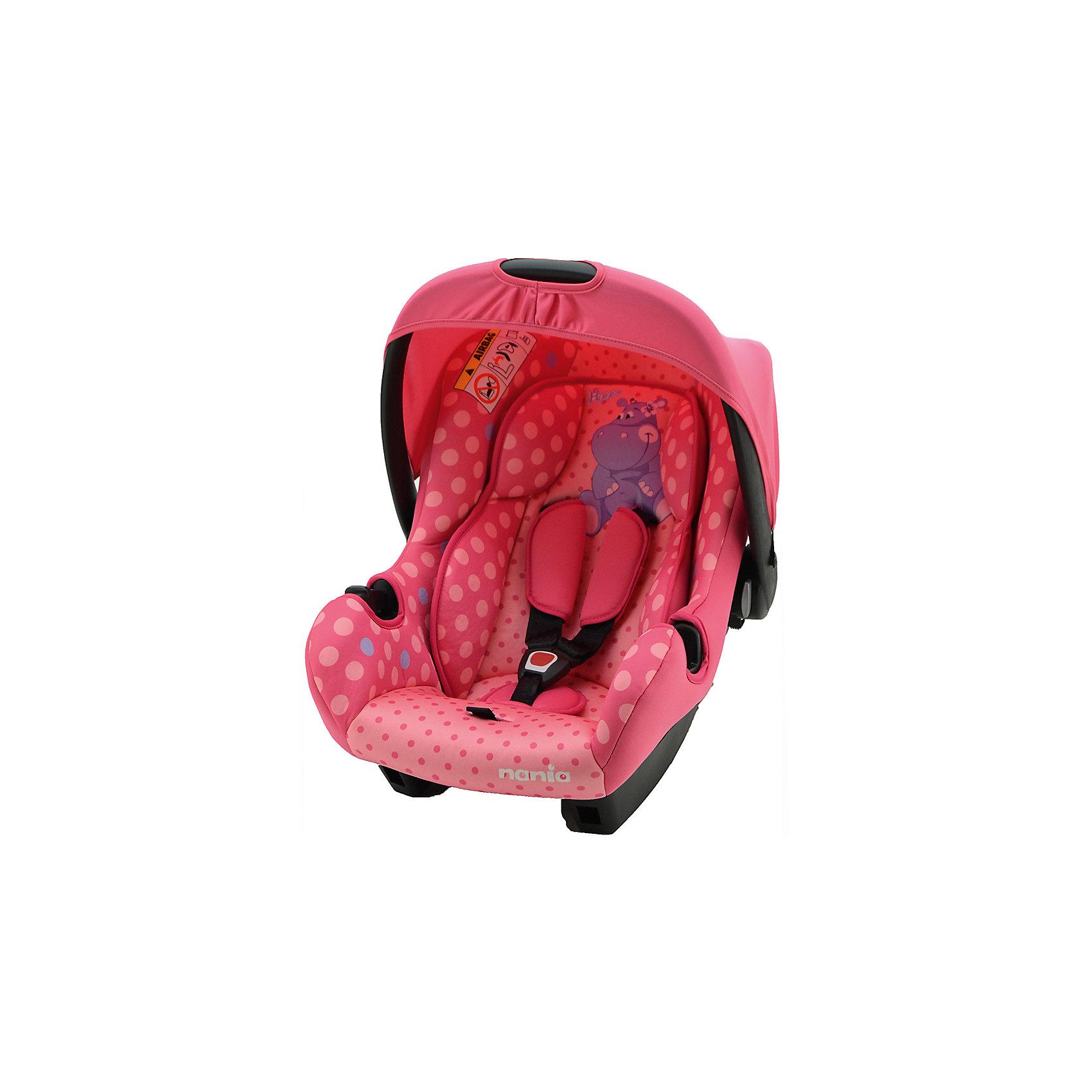 Автокресло BEONE SP 0-13 кг, ANIMALS HIPPO FUSHIA, Nania, розовыйЯркое и комфортабельное детское автокресло Nania ANIMALS, что может быть прекрасней для Вашего ребенка?<br>Его используют для детей до 1 года, весом до 13 кг. Каркас, имеющий анатомическую форму, изготовлен из полипропилена. Трех точечный ремень безопасности. Съёмные тканевые части можно стирать вручную.<br><br>Характеристики:<br>- Группа: 0+(от 0 до 13кг).<br>- 3-точечные ремни безопасности с центральной регулировкой.<br>- Если ребенок растегнет замок или замок не закрыт должным образом, прозвучит предупредительный сигнал.<br>- Спинка не регулируется.<br>- Съемные и моющиеся чехлы.<br>- Вид крепления: штатным ремнем автомобиля.<br>- Способ установки: на заднем сиденье лицом против направления движения и на переднем сиденье только в том случае, если подушка безопасности отключена.<br>- Тканевые чехлы можно снимать и стирать в деликатном режиме.<br><br>Дополнительная информация:<br><br>- Возраст: от 0 до 9 месяцев.<br>- Материал: пластик, текстиль.<br>- Цвет: розовый.<br>- Внешние размеры: 70х47х40 см.<br>- Внутренние размеры: 32х30 см.<br>- Размер упаковки: 65х44х30 см.<br>- Вес в упаковке: 2900 кг.<br><br>Купить автокресло BEONE SP, ANIMALS HIPPO FUSHIA, Nania в розовом цвете,  можно в нашем магазине.<br><br>Ширина мм: 650<br>Глубина мм: 440<br>Высота мм: 300<br>Вес г: 2900<br>Возраст от месяцев: 0<br>Возраст до месяцев: 12<br>Пол: Женский<br>Возраст: Детский<br>SKU: 4828301