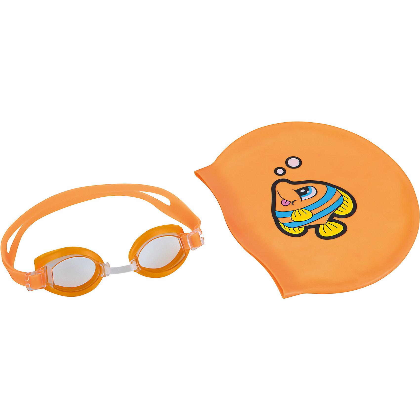 Набор для плавания, Bestway, оранжевыйОчки, маски, ласты, шапочки<br>Набор для плавания  Bestway - прекрасный вариант для активного и веселого пляжного отдыха.<br>Очки и шапочка для плавания выполнены в одной яркой цветовой гамме. Очки оснащены линзами со специальным покрытием для предотвращения запотевания. Мягкая хорошо прилегающая переносица обеспечит удобство и комфорт во время плавания. Силиконовый ремешок, обхватывающий голову, регулируется до нужного размера. Шапочка поможет сохранить волосы сухими и избежать попадания воды в уши. Изготовлена из прочного качественного материала и плотно облегает голову. Комплект упакован в удобный прозрачный чехол. -  Набор для плавания Bestway можно купить в нашем интернет-магазине.<br><br>В комплект входят:<br>- очки для плавания<br>- шапочка<br><br>Дополнительная информация:<br>- Материал: пластик, силикон<br>- Размер упаковки: 18 х 7 х 4 см<br>- Вес: 80 г<br>- Цвет: оранжевый<br>- Возраст: для детей от 7 лет<br>- Бренд: Bestway<br><br>Ширина мм: 180<br>Глубина мм: 70<br>Высота мм: 40<br>Вес г: 80<br>Возраст от месяцев: 84<br>Возраст до месяцев: 144<br>Пол: Унисекс<br>Возраст: Детский<br>SKU: 4828536