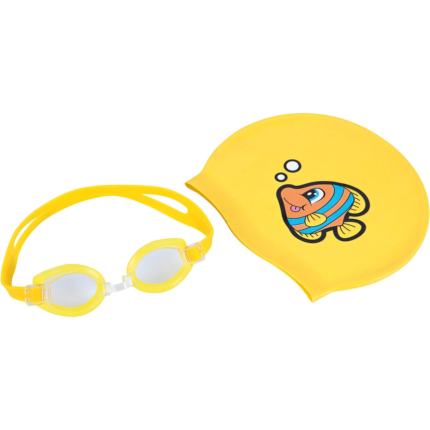 Набор для плавания, Bestway, желтыйНабор для плавания  Bestway - прекрасный вариант для активного и веселого пляжного отдыха.<br>Очки и шапочка для плавания выполнены в одной яркой цветовой гамме. Очки оснащены линзами со специальным покрытием для предотвращения запотевания. Мягкая хорошо прилегающая переносица обеспечит удобство и комфорт во время плавания. Силиконовый ремешок, обхватывающий голову, регулируется до нужного размера. Шапочка поможет сохранить волосы сухими и избежать попадания воды в уши. Изготовлена из прочного качественного материала и плотно облегает голову. Комплект упакован в удобный прозрачный чехол. -  Набор для плавания Bestway можно купить в нашем интернет-магазине.<br><br>В комплект входят:<br>- очки для плавания<br>- шапочка<br><br>Дополнительная информация:<br>- Материал: пластик, силикон<br>- Размер упаковки: 18 х 7 х 4 см<br>- Вес: 80 г<br>- Цвет: жёлтый<br>- Возраст: для детей от 7 лет<br>- Бренд: Bestway<br><br>Ширина мм: 180<br>Глубина мм: 70<br>Высота мм: 40<br>Вес г: 80<br>Возраст от месяцев: 84<br>Возраст до месяцев: 144<br>Пол: Унисекс<br>Возраст: Детский<br>SKU: 4828538