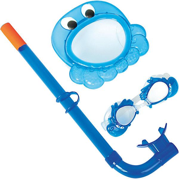 Набор для ныряния детский, морские животные, синий, BestwayОчки, маски, ласты, шапочки<br>Характеристики товара:<br><br>• материал: поликарбонат<br>• цвет: синий<br>• комплектация: маска, трубка, очки<br>• предметы в виде животных<br>• размер упаковки: 19х7х40 см<br>• прочный материал стекла<br>• мягкий загубник на трубке<br>• удобный уплотнитель<br>• плотное прилегание<br>• возможность регулировки размера<br>• возраст: от 3 до 6 лет<br>• страна бренда: США, Китай<br>• страна производства: Китай<br><br>Такой набор позволяет не только участвовать в активных играх, он поможет ребенку познакомиться с интересным подводным миром, расширить его кругозор и привить интерес к знаниям.<br><br>Предметы сделаны из прочного материала, маска и очки плотно прилегают к лицу и не пропускают воду, трубка - с удобным мягким загубником. Размер легко регулируется под ребенка. Изделие произведено из качественных и безопасных для детей материалов.<br><br>Набор для ныряния детский, морские животные, синий, от бренда Bestway (Бествей) можно купить в нашем интернет-магазине.<br>Ширина мм: 250; Глубина мм: 415; Высота мм: 720; Вес г: 245; Возраст от месяцев: 36; Возраст до месяцев: 120; Пол: Унисекс; Возраст: Детский; SKU: 4828539;