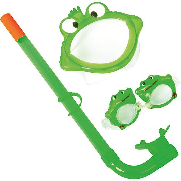 Набор для ныряния детский, морские животные, зеленый, BestwayОчки, маски, ласты, шапочки<br>Характеристики товара:<br><br>• материал: поликарбонат<br>• цвет: зеленый<br>• комплектация: маска, трубка, очки<br>• предметы в виде животных<br>• размер упаковки: 19х7х40 см<br>• прочный материал стекла<br>• мягкий загубник на трубке<br>• удобный уплотнитель<br>• плотное прилегание<br>• возможность регулировки размера<br>• возраст: от 3 до 6 лет<br>• страна бренда: США, Китай<br>• страна производства: Китай<br><br>Такой набор позволяет не только участвовать в активных играх, он поможет ребенку познакомиться с интересным подводным миром, расширить его кругозор и привить интерес к знаниям.<br><br>Предметы сделаны из прочного материала, маска и очки плотно прилегают к лицу и не пропускают воду, трубка - с удобным мягким загубником. Размер легко регулируется под ребенка. Изделие произведено из качественных и безопасных для детей материалов.<br><br>Набор для ныряния детский, морские животные, зеленый, от бренда Bestway (Бествей) можно купить в нашем интернет-магазине.<br>Ширина мм: 250; Глубина мм: 415; Высота мм: 720; Вес г: 245; Возраст от месяцев: 36; Возраст до месяцев: 120; Пол: Унисекс; Возраст: Детский; SKU: 4828542;