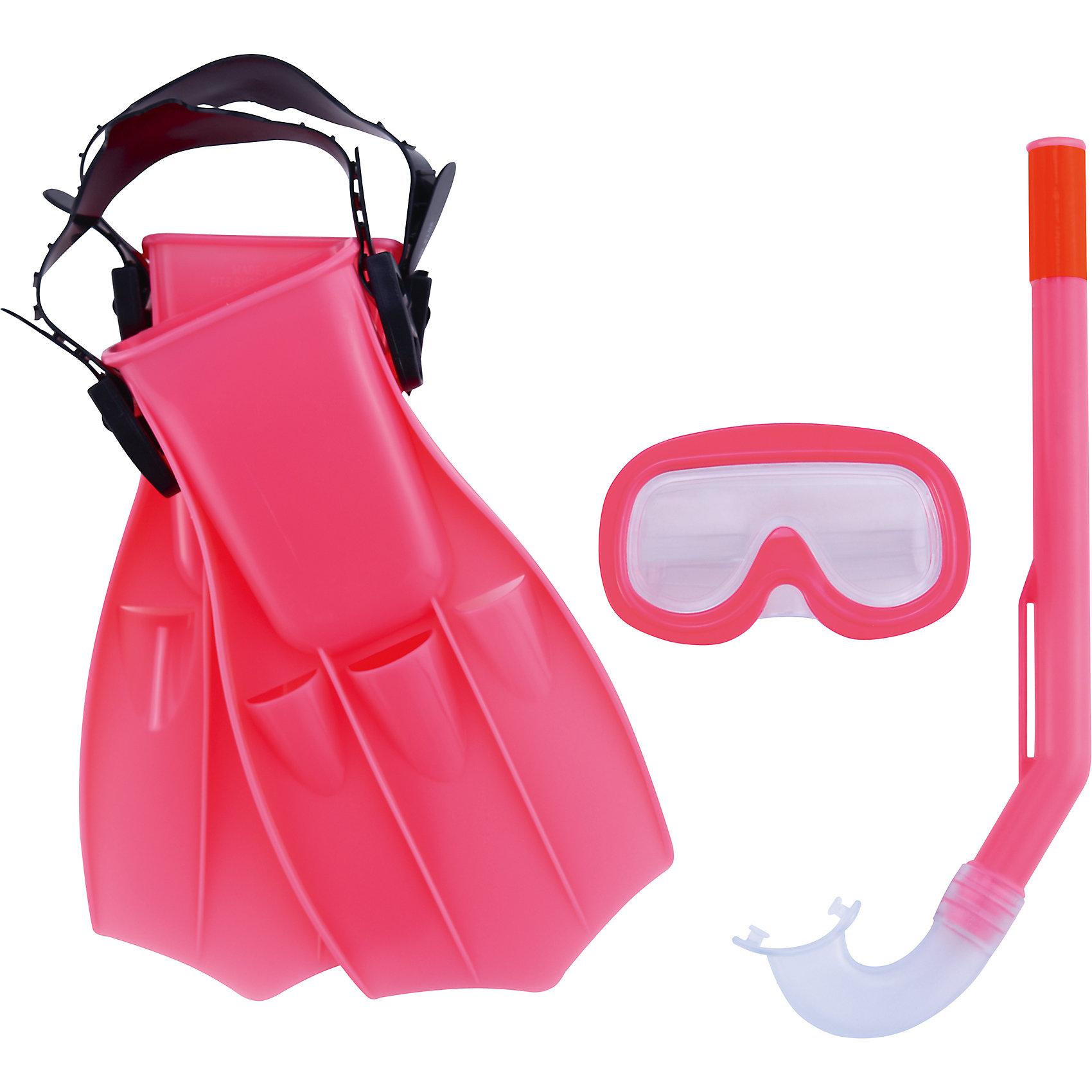 Набор для ныряния Play Pro детский, Bestway, розовыйДетский набор для ныряния Play Pro, Bestway - отличный вариант для активного отдыха и увлекательных исследований подводного мира. Маска оснащена линзами из поликарбоната с широким обзором без искажений, плотно прилегает к лицу и надёжно фиксируется регулируемым ремешком. Пластиковая трубка с мягким загубником и регулируемым фиксатором ремешка трубки позволяет оставаться под водой на протяжении длительного времени. Ласты для плавания улучшают положение тела в воде, увеличивают скорость, силу ног и гибкость суставов. Ласты фиксируются с помощью крепёжного ремешка на пятке, который позволяет регулировать размер от 34 до 38. Набор для ныряния Play Pro детский, Bestway, можно купить в нашем интернет-магазине.<br><br>В комплект входит:<br>- маска для ныряния<br>- трубка <br>- ласты<br><br>Дополнительная информация: <br> - Материал: поликарбонат, пластик, резина/латекс<br> - Длина трубки: 37 см<br> - Размер упаковки: 45 х 10 х 22 см<br> - Вес: 0,54 кг.  <br> - Возраст: от 3 до 6 лет<br> - Цвет: розовый<br>- Бренд: Bestway<br><br>Ширина мм: 2250<br>Глубина мм: 4350<br>Высота мм: 1000<br>Вес г: 540<br>Возраст от месяцев: 36<br>Возраст до месяцев: 120<br>Пол: Унисекс<br>Возраст: Детский<br>SKU: 4828544