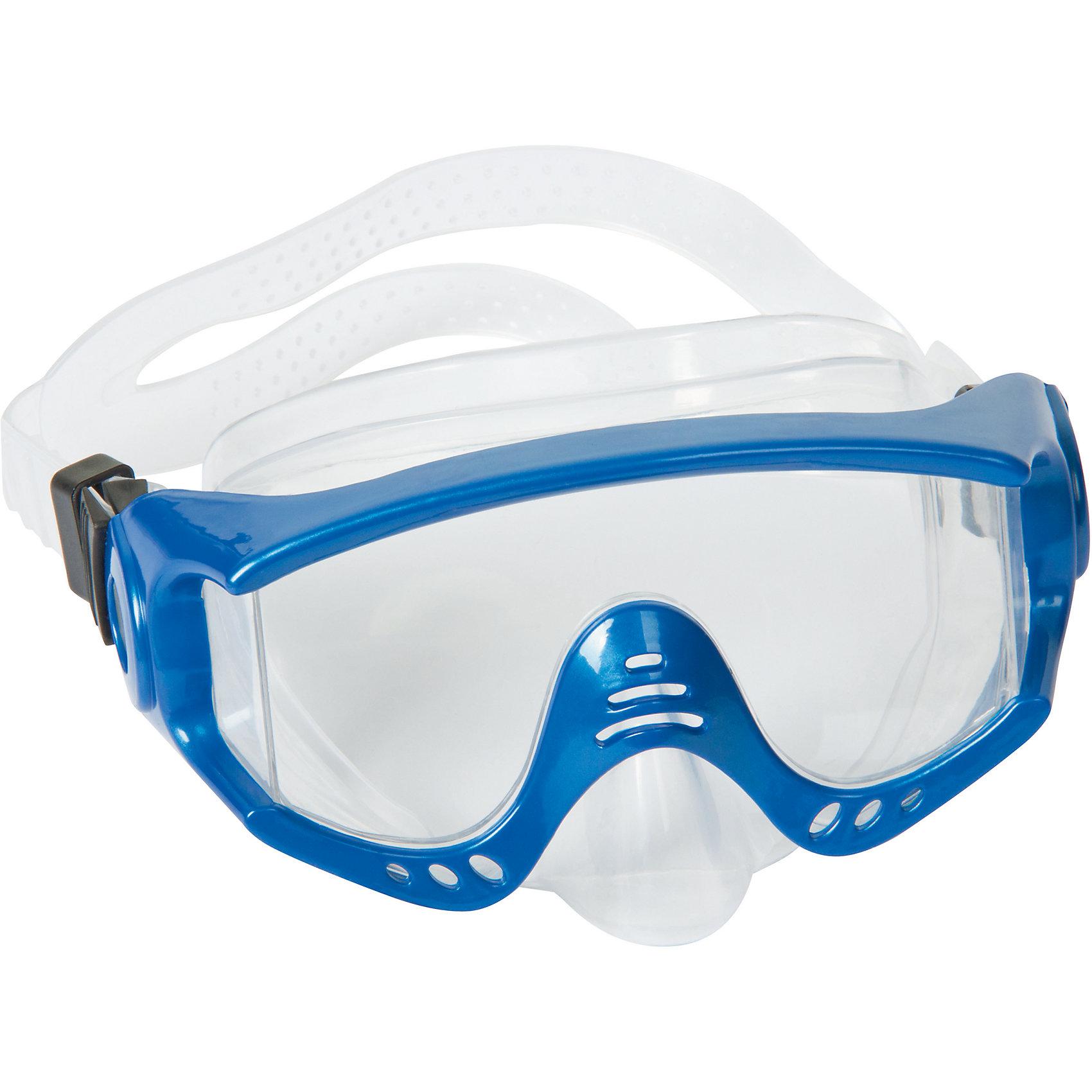 Маска для ныряния Splash Tech для взрослых, Bestway, синийОчки, маски, ласты, шапочки<br>Маска для ныряния Splash Tech, Bestway - отличный вариант для активного отдыха и увлекательных исследований подводного мира. Маска оснащена линзами из поликарбоната с широким обзором. Благодаря уплотнителю с двойной кромкой плотно прилегает к лицу и не допускает протекания воды. Маска надёжно фиксируется регулируемым ремешком. Соответствует требованиям безопасности и стандартам качества продукции. Маску для ныряния Splash Tech для взрослых, Bestway, можно купить в нашем интернет-магазине.<br><br> В товар входит: <br>- маска для ныряния<br><br>Дополнительная информация: <br> - Материал: поликарбонат<br> - Размер упаковки: 22 х 18 х 9 см<br> - Вес: 168 гр.  <br> - Возраст: для взрослых и детей от 14 лет<br> - Цвет: синий<br> - Бренд: Bestway<br><br>Ширина мм: 235<br>Глубина мм: 185<br>Высота мм: 870<br>Вес г: 168<br>Возраст от месяцев: 168<br>Возраст до месяцев: 1188<br>Пол: Унисекс<br>Возраст: Детский<br>SKU: 4828547