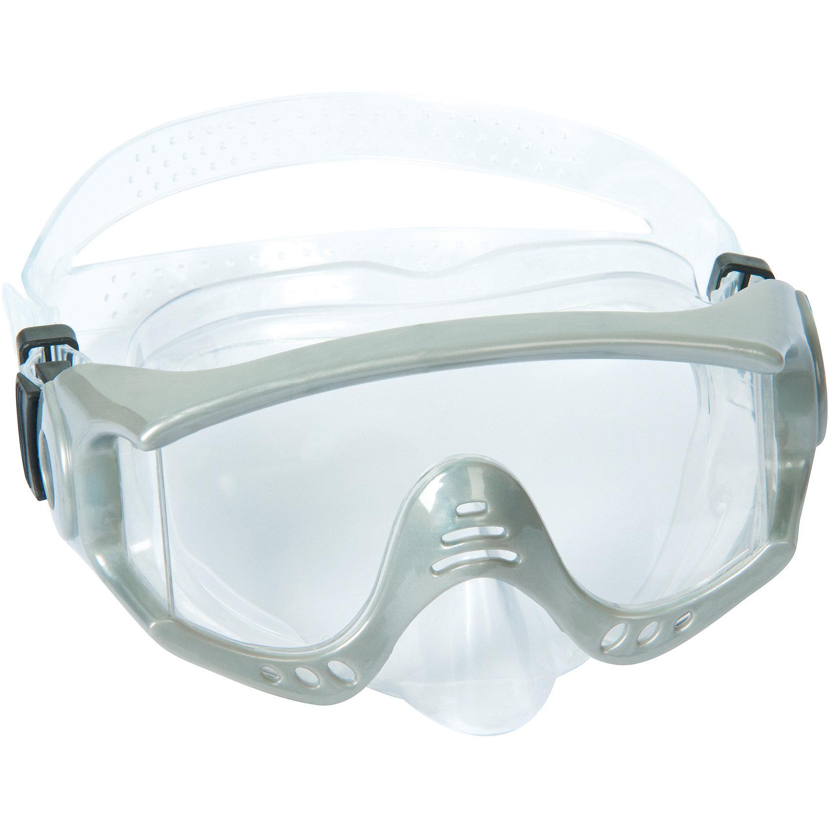 Маска для ныряния Splash Tech для взрослых, Bestway, серыйОчки, маски, ласты, шапочки<br>Маска для ныряния Splash Tech, Bestway - отличный вариант для активного отдыха и увлекательных исследований подводного мира. Маска оснащена линзами из поликарбоната с широким обзором. Благодаря уплотнителю с двойной кромкой плотно прилегает к лицу и не допускает протекания воды. Маска надёжно фиксируется регулируемым ремешком. Соответствует требованиям безопасности и стандартам качества продукции. Маску для ныряния Splash Tech для взрослых, Bestway, можно купить в нашем интернет-магазине.<br><br> В товар входит: <br>- маска для ныряния<br><br>Дополнительная информация: <br> - Материал: поликарбонат<br> - Размер упаковки: 22 х 18 х 9 см<br> - Вес: 168 гр.  <br> - Возраст: для взрослых и детей от 14 лет<br> - Цвет: серый<br> - Бренд: Bestway<br><br>Ширина мм: 235<br>Глубина мм: 185<br>Высота мм: 870<br>Вес г: 168<br>Возраст от месяцев: 168<br>Возраст до месяцев: 1188<br>Пол: Унисекс<br>Возраст: Детский<br>SKU: 4828548