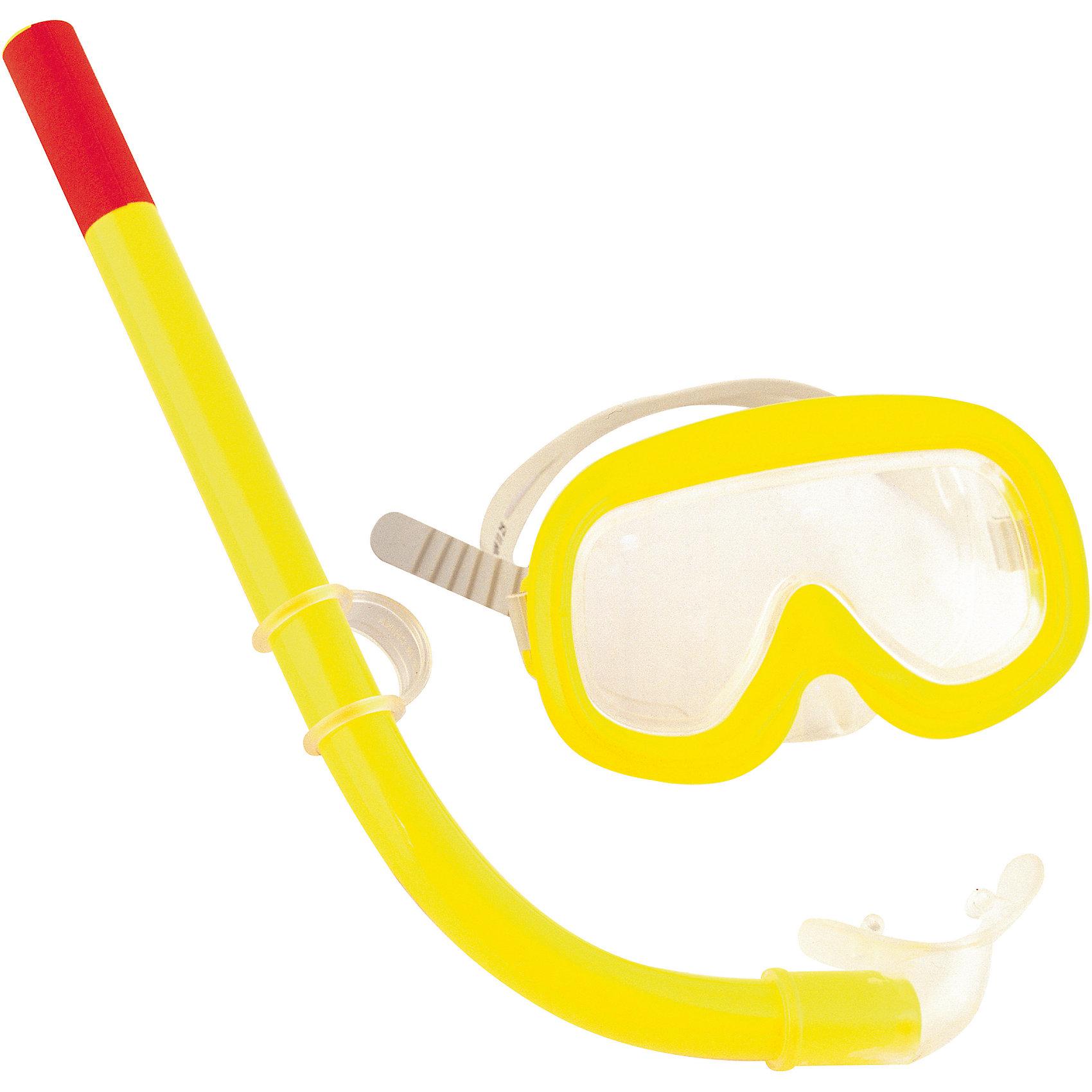 Набор для ныряния (маска+трубка) Sun детский, желтый, BestwayОчки, маски, ласты, шапочки<br>Характеристики товара:<br><br>• материал: пластик<br>• цвет: желтый<br>• комплектация: маска, трубка<br>• размер маски: 135х80х60 см<br>• размер упаковки: 36x20x7 см<br>• прочный материал стекла<br>• удобный уплотнитель<br>• плотное прилегание<br>• возможность регулировки размера<br>• возраст: от 3 до 6 лет<br>• страна бренда: США, Китай<br>• страна производства: Китай<br><br>Такой набор позволяет не только участвовать в активных играх, маска она поможет ребенку познакомиться с интересным подводным миром, расширить его кругозор и привить интерес к знаниям.<br><br>Маска сделана из прочного материала, она плотно прилегает к лицу и не пропускает воду. Размер легко регулируется под ребенка. Изделие произведено из качественных и безопасных для детей материалов.<br><br>Набор для ныряния (маска+трубка) Sun детский, желтый, от бренда Bestway (Бествей) можно купить в нашем интернет-магазине.<br><br>Ширина мм: 349<br>Глубина мм: 185<br>Высота мм: 40<br>Вес г: 155<br>Возраст от месяцев: 36<br>Возраст до месяцев: 72<br>Пол: Унисекс<br>Возраст: Детский<br>SKU: 4829102