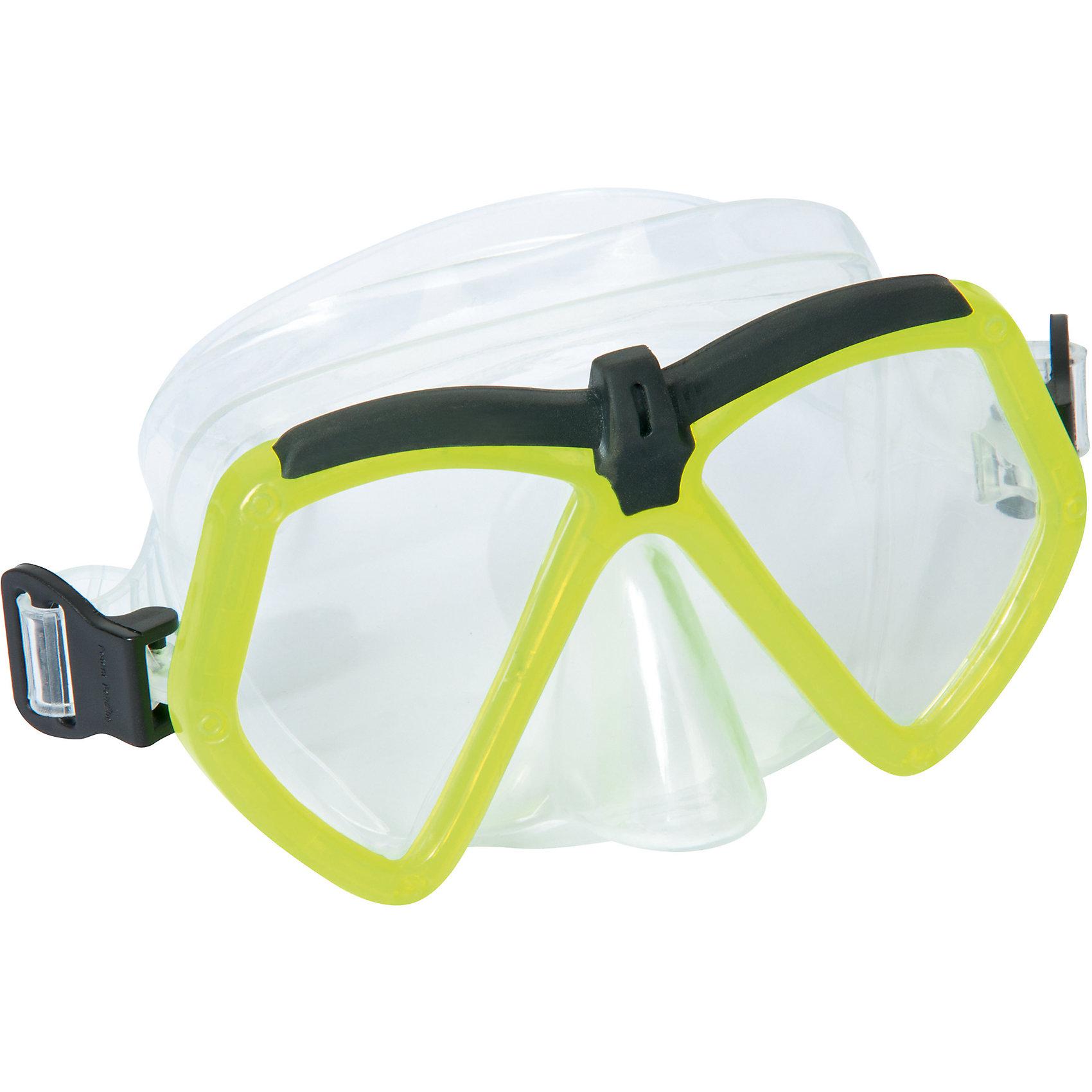Детская маска для подводного плавания Море, Bestway, зеленыйОчки, маски, ласты, шапочки<br>Детская маска для подводного плавания Море, Bestway (Бествей) с  поликарбонатными линзами угловатой формы. Маска имеет отдельно выполненный выступ для носа, что полностью исключает протекание. Силикон прозрачный, поэтому обзор у этой модели широкий.   Дополнительная информация:  - В комплекте: маска для плавания Бествей - Материал: ударопрочный поликарбонат - Уплотнитель: силикон - Регулируемый ремешок для обхвата головы.  Детскую маску для подводного плавания Море, Bestway (Бествей) можно купить в нашем интернет-магазине.<br><br>Ширина мм: 216<br>Глубина мм: 164<br>Высота мм: 86<br>Вес г: 154<br>Возраст от месяцев: 72<br>Возраст до месяцев: 144<br>Пол: Унисекс<br>Возраст: Детский<br>SKU: 4829107