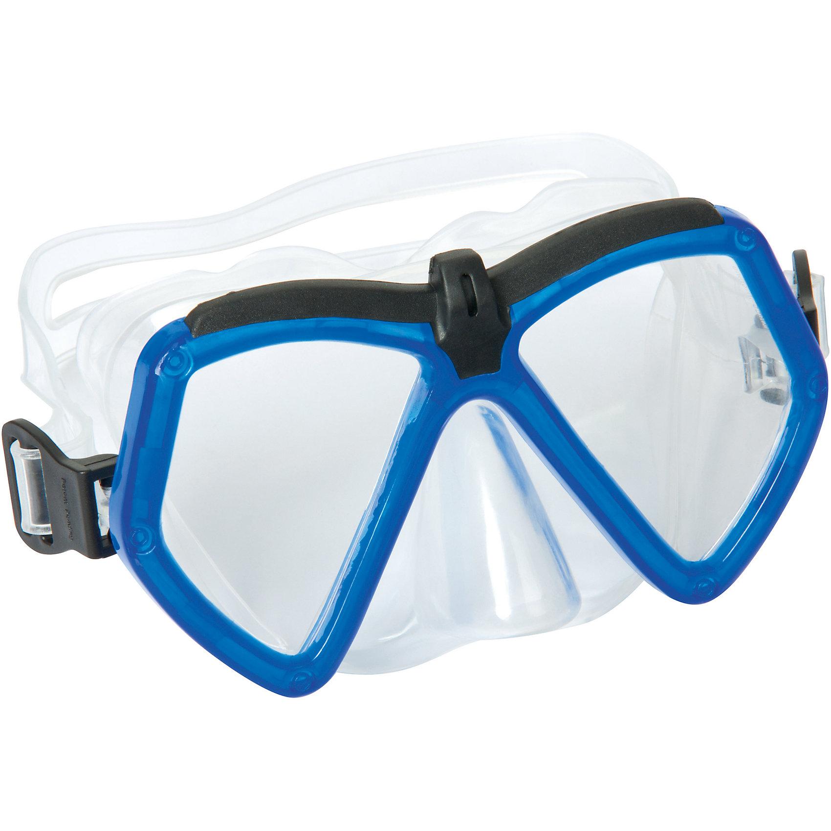 Детская маска для подводного плавания Море, Bestway, синийОчки, маски, ласты, шапочки<br>Детская маска для подводного плавания Море, Bestway (Бествей) с  поликарбонатными линзами угловатой формы. Маска имеет отдельно выполненный выступ для носа, что полностью исключает протекание. Силикон прозрачный, поэтому обзор у этой модели широкий.   Дополнительная информация:  - В комплекте: маска для плавания Бествей - Материал: ударопрочный поликарбонат - Уплотнитель: силикон - Регулируемый ремешок для обхвата головы.  Детскую маску для подводного плавания Море, Bestway (Бествей) можно купить в нашем интернет-магазине.<br><br>Ширина мм: 216<br>Глубина мм: 164<br>Высота мм: 86<br>Вес г: 154<br>Возраст от месяцев: 72<br>Возраст до месяцев: 144<br>Пол: Унисекс<br>Возраст: Детский<br>SKU: 4829108