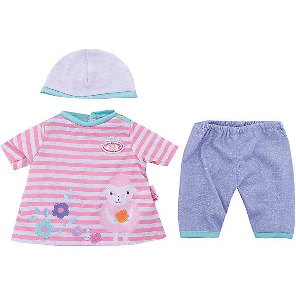 Одежда для куклы 36 см, my first Baby Annabell, в роз-белую полоскуОдежда для кукол<br>Характеристики:<br><br>• тип игрушки: одежда для кукол;<br>• возраст: от 3 лет;<br>• размер: 25х27 см;<br>• цвет: розовый, голубой;<br>• материал: текстиль;<br>• комплектация:  штанишки, кофточка, шапочка;<br>• бренд: Zapf Creation;<br>• страна производителя: Китай.<br><br>Одежда для куклы 36 см, my first Baby Annabell поможет малышам познакомиться с разными предметами одежды из детского гардероба, а также станут составляющими интересной игры с куклами. Наряды прекрасно подойдут для кукол серии Baby Annabell, размер которых 36 см.<br><br>Одежду из комплектов можно при необходимости постирать, а потом погладить, чтобы поддерживать ее привлекательный внешний вид в случае загрязнения.  Комплекты изготовлены из высококачественных текстильных материалов, приятных на ощупь и гипоаллергенных.<br><br>Одежду для куклы 36 см, my first Baby Annabell  можно купить в нашем интернет-магазине.<br>Ширина мм: 212; Глубина мм: 180; Высота мм: 50; Вес г: 74; Возраст от месяцев: 36; Возраст до месяцев: 84; Пол: Женский; Возраст: Детский; SKU: 4829113;