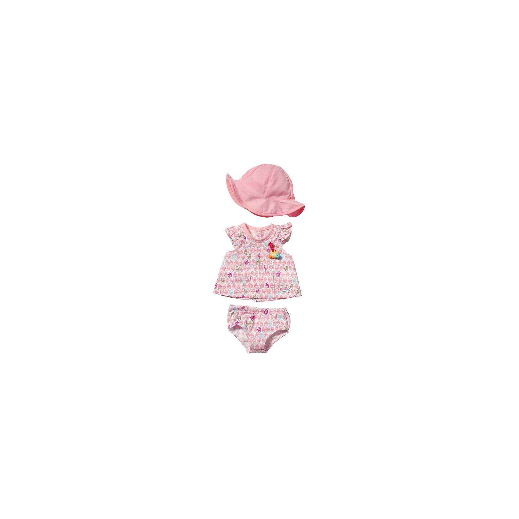 Zapf Creation Летняя одежда для куклы Цветное платье- розовая панама, BABY born free shipping gm8901 45m s 88mph lcd digital hand held wind speed gauge meter measure anemometer thermometer