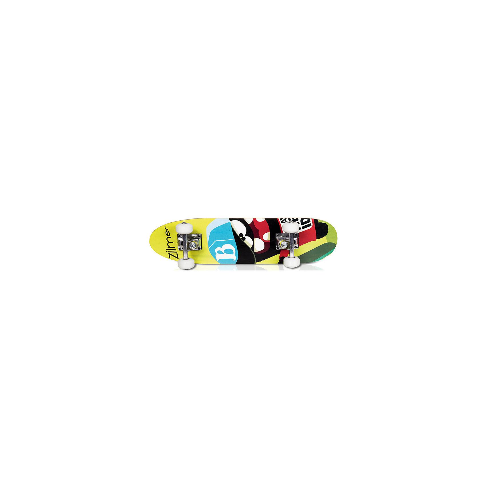 Набор для скейтбординга Крутой вираж, Zilmer, с орнаментомЭтот набор приведет в восторг всех юных экстремалов! В нем есть все, чтобы научиться кататься на скейте. Стильный скейтборд с  рельефной поверхностью, деревянной декой, подвеской из алюминия и полиуретановыми колесами обеспечит хорошее сцепление с поверхностью, быстрый разгон и торможение. Полный комплект защиты, состоящий из прочных наколенников, налокотников, перчаток на запястья и шлема гарантирует комфорт и безопасность. Шлем с отверстиями для вентиляции застегивается на ремешки. Катание на скейтборде стимулирует ребенка к физической активности на свежем отдыхе, помогает развить различные группы мышц и укрепить иммунитет.   Дополнительная информация:  - Материал: полиуретан, алюминий, дерево, пластик. - Комплектация: скейтборд, шлем, комплект защиты. - Размер упаковки: 60х30х25 см. - Размер скейтборда: 60х15 см.  - Размер колес: 50х30 мм. - Шлем застегивается на ремешок. - Антискользящая платформа. Набор для скейтбординга Крутой вираж, Zilmer можно купить в нашем магазине.<br><br>Ширина мм: 600<br>Глубина мм: 300<br>Высота мм: 250<br>Вес г: 2383<br>Возраст от месяцев: 36<br>Возраст до месяцев: 72<br>Пол: Унисекс<br>Возраст: Детский<br>SKU: 4829651